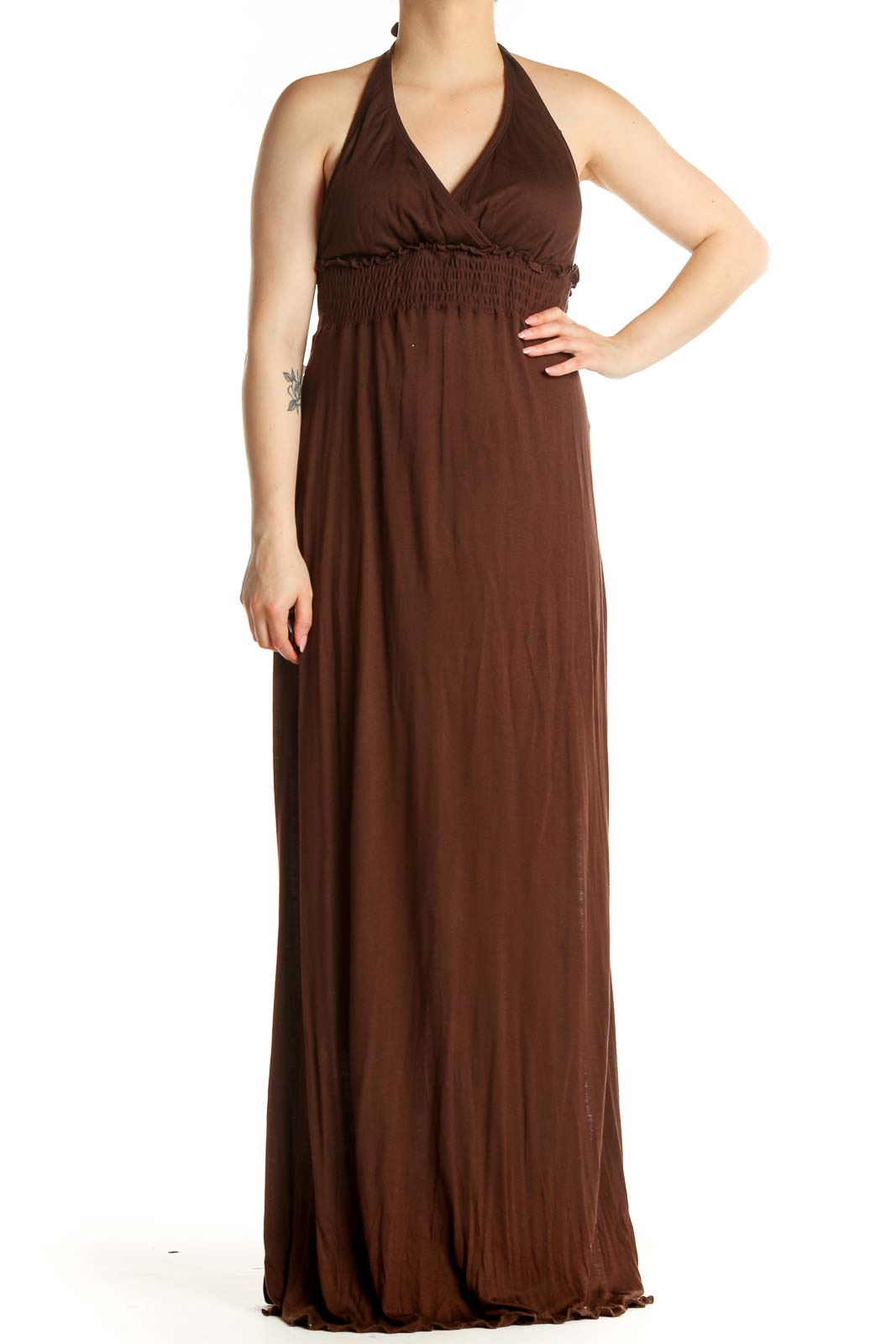 Brown Solid Classic Column Dress Front