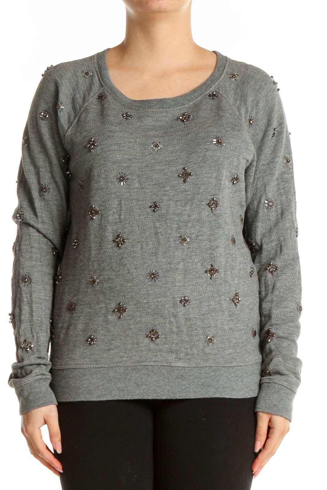 Gray Sequin Sweatshirt Front
