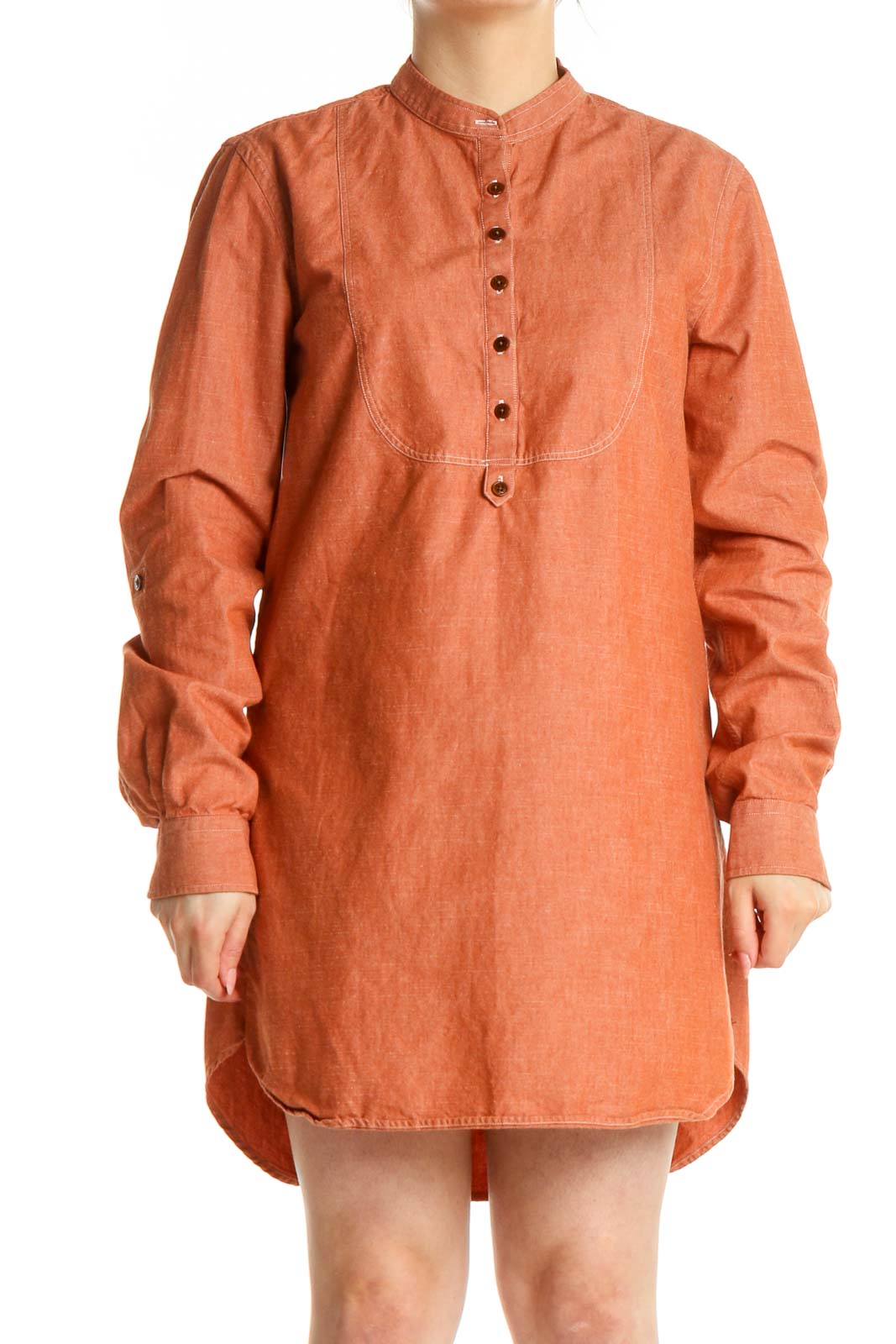 Orange Solid Retro Shift Dress Front