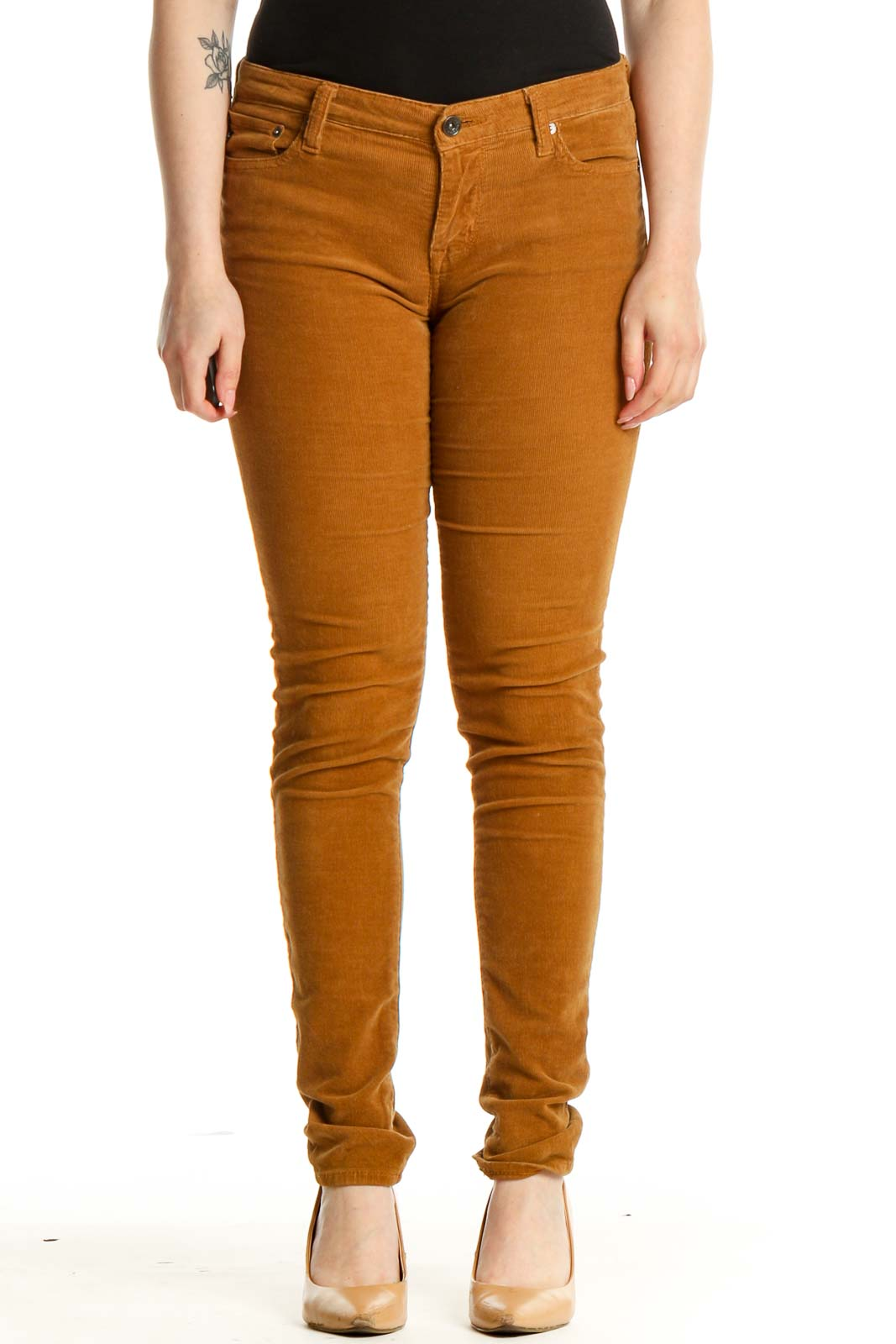 Orange Solid Casual Pants Front