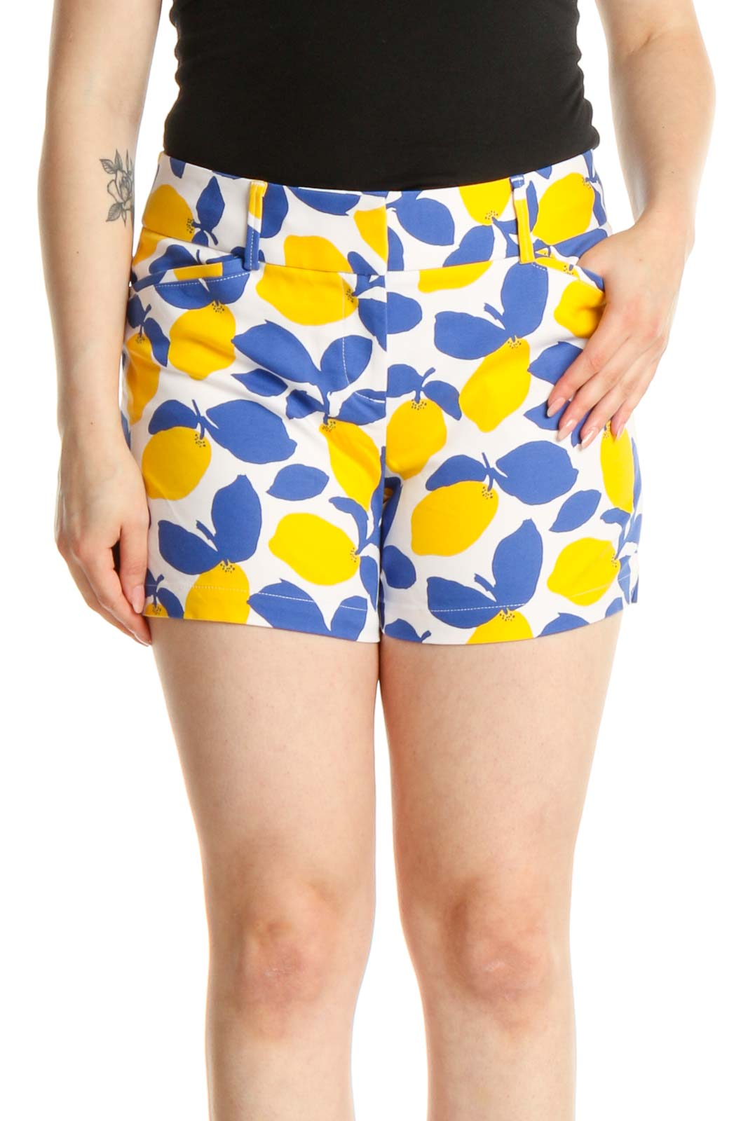 Blue Printed Chic Shorts Front