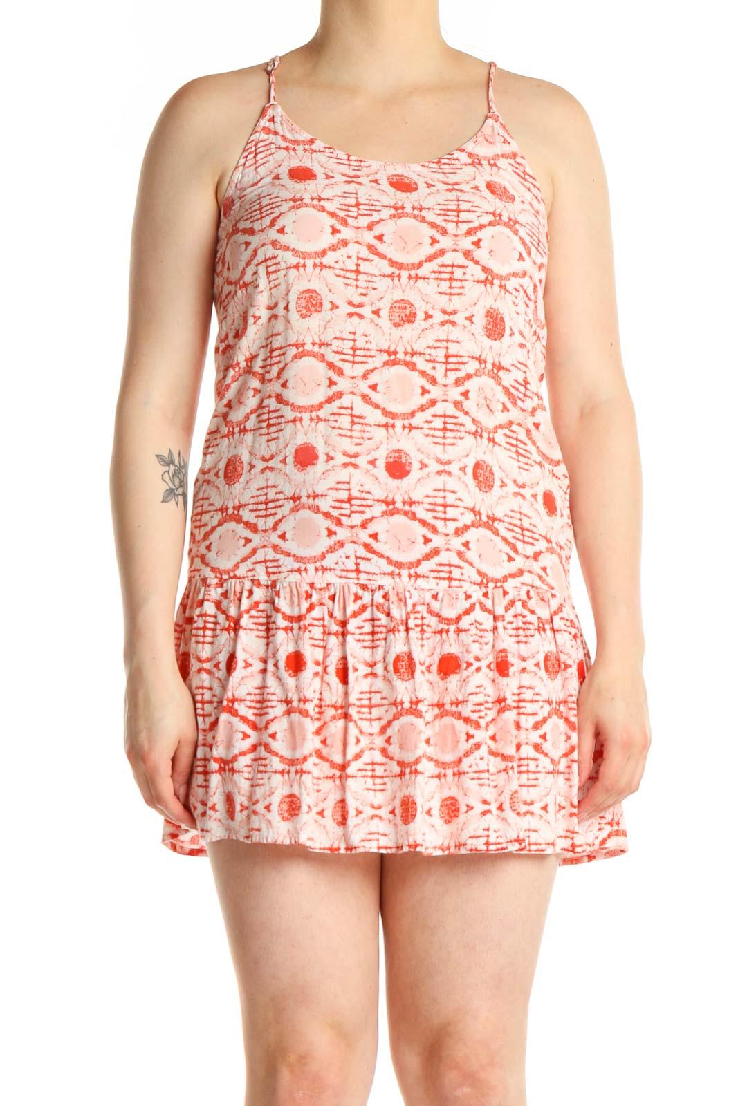 Pink Geometric Print Bohemian A-Line Dress Front