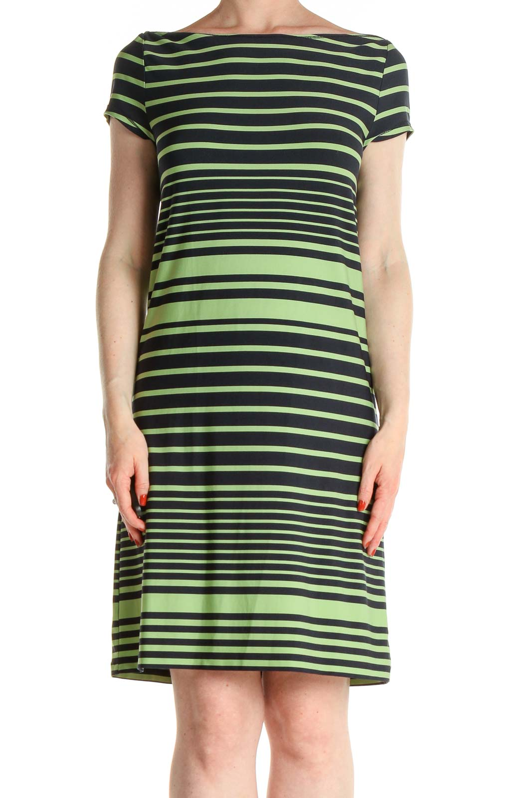 Green Striped Day Dress Front