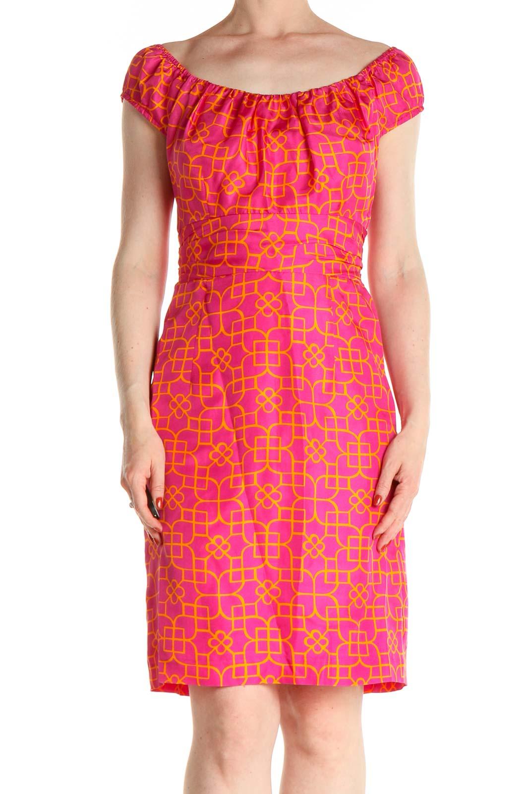 Pink Geometric Print Retro Sheath Dress Front