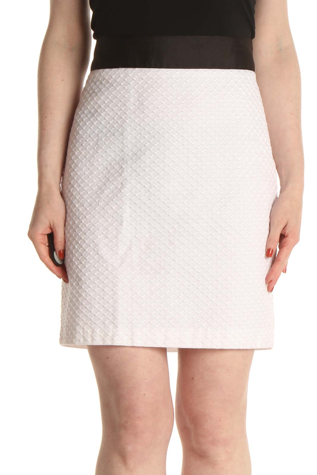 White Chic Pencil Skirt Front