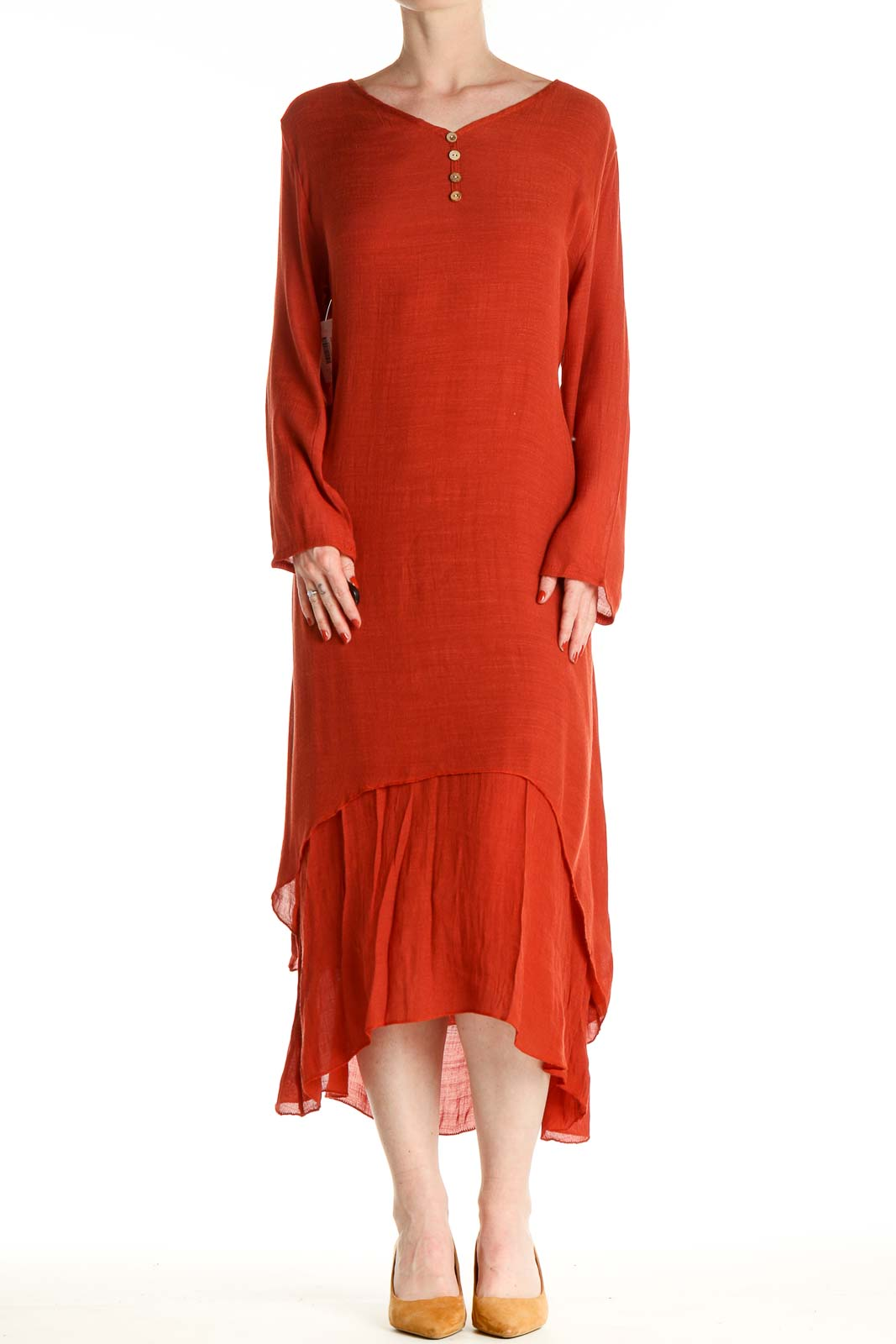Red Solid Day Dress Front