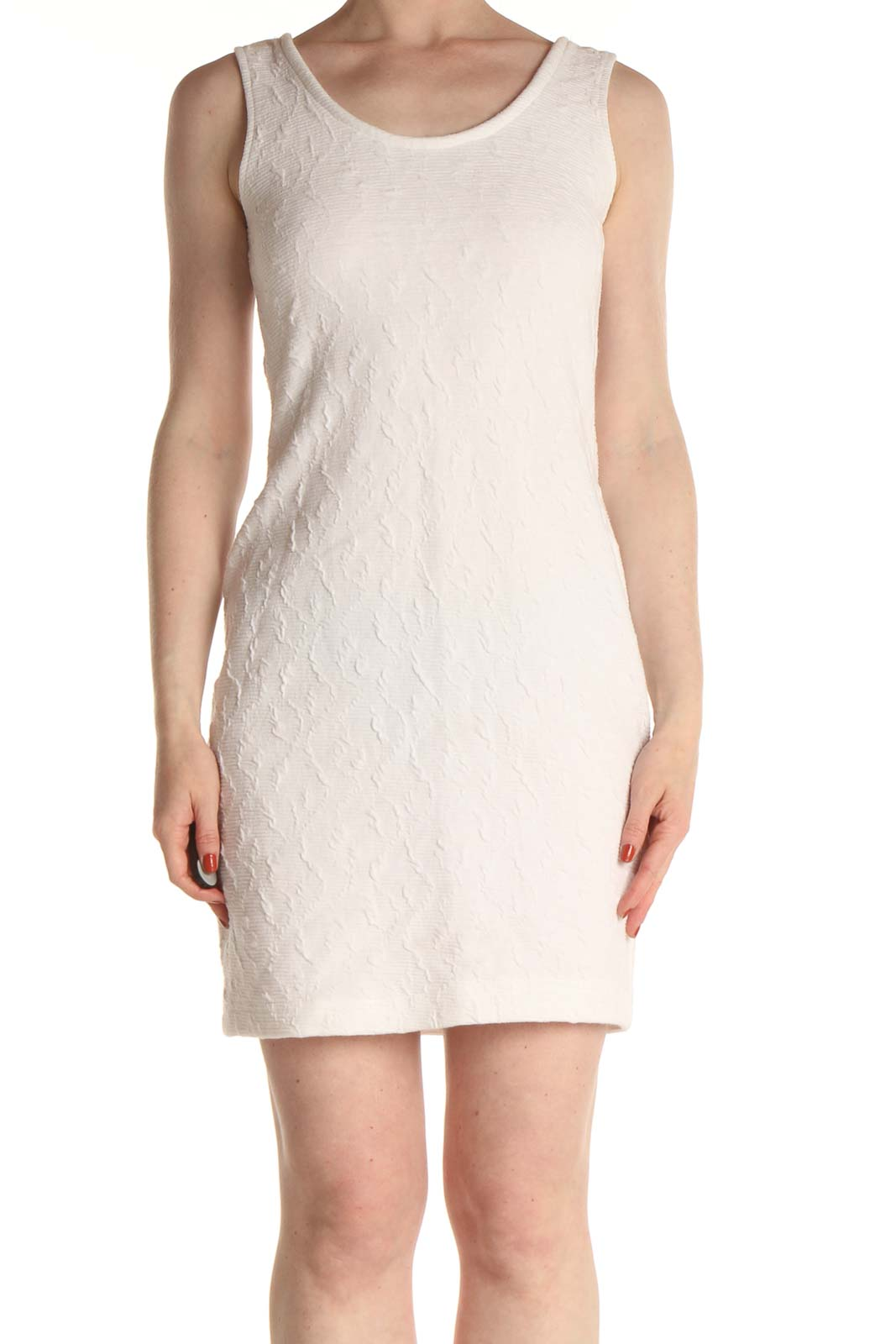 Pink Textured Day Sheath Dress Front