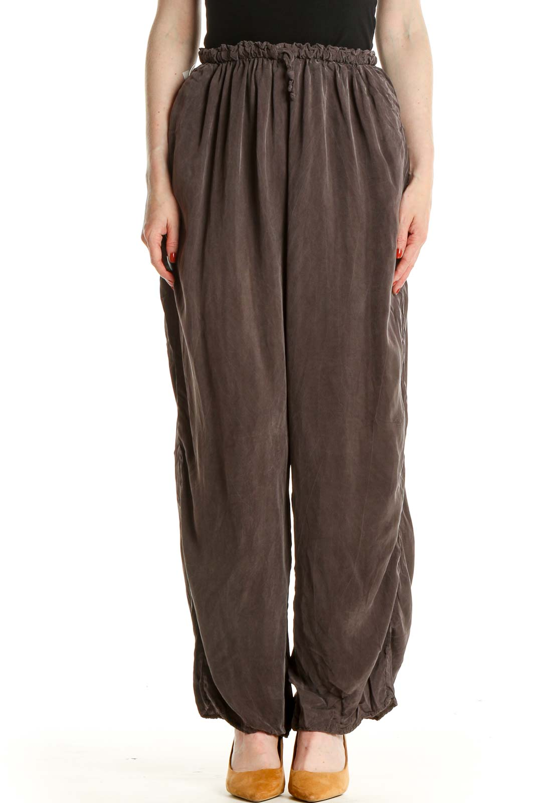 Gray Solid Casual Trousers Front