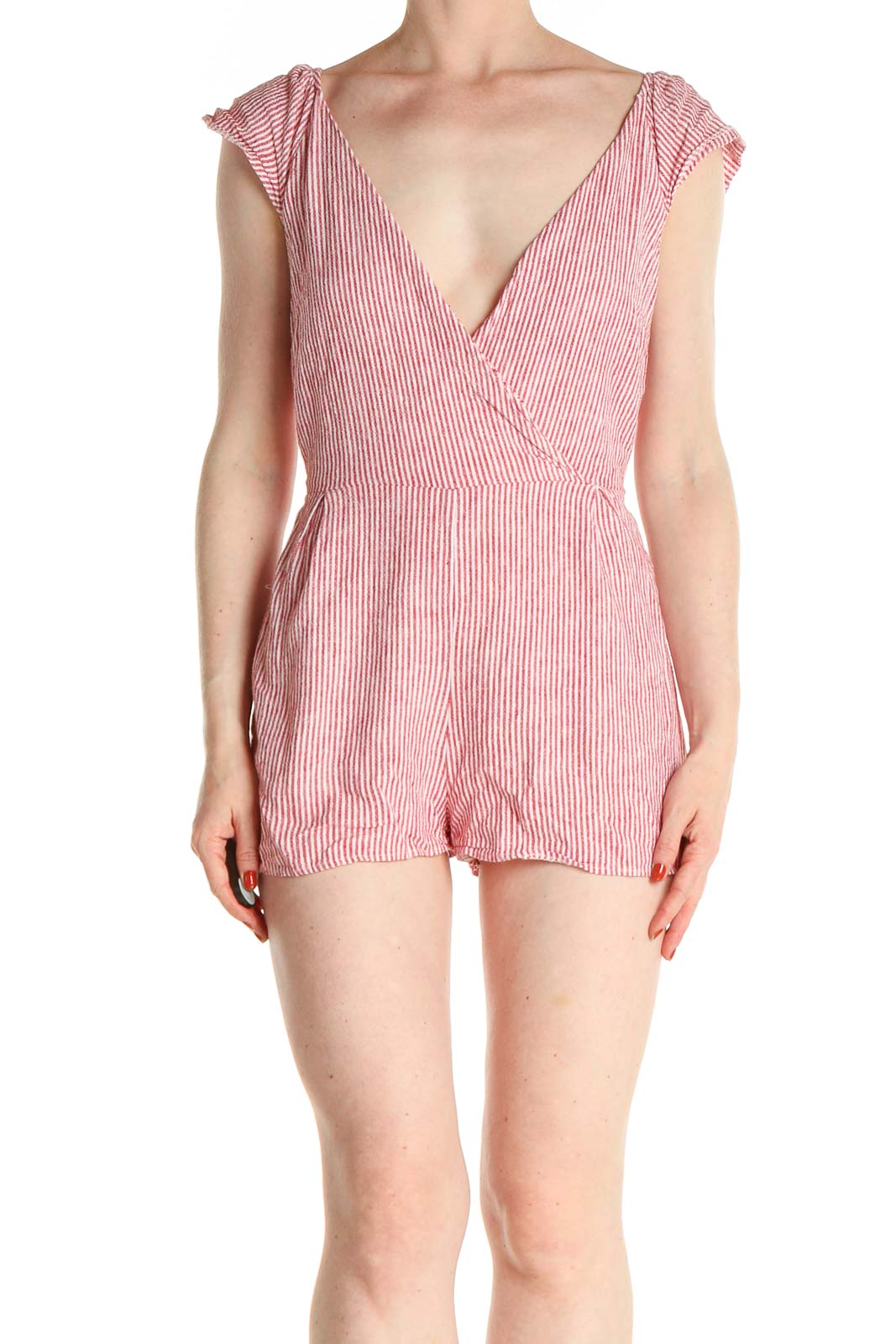 Red Striped Romper Front