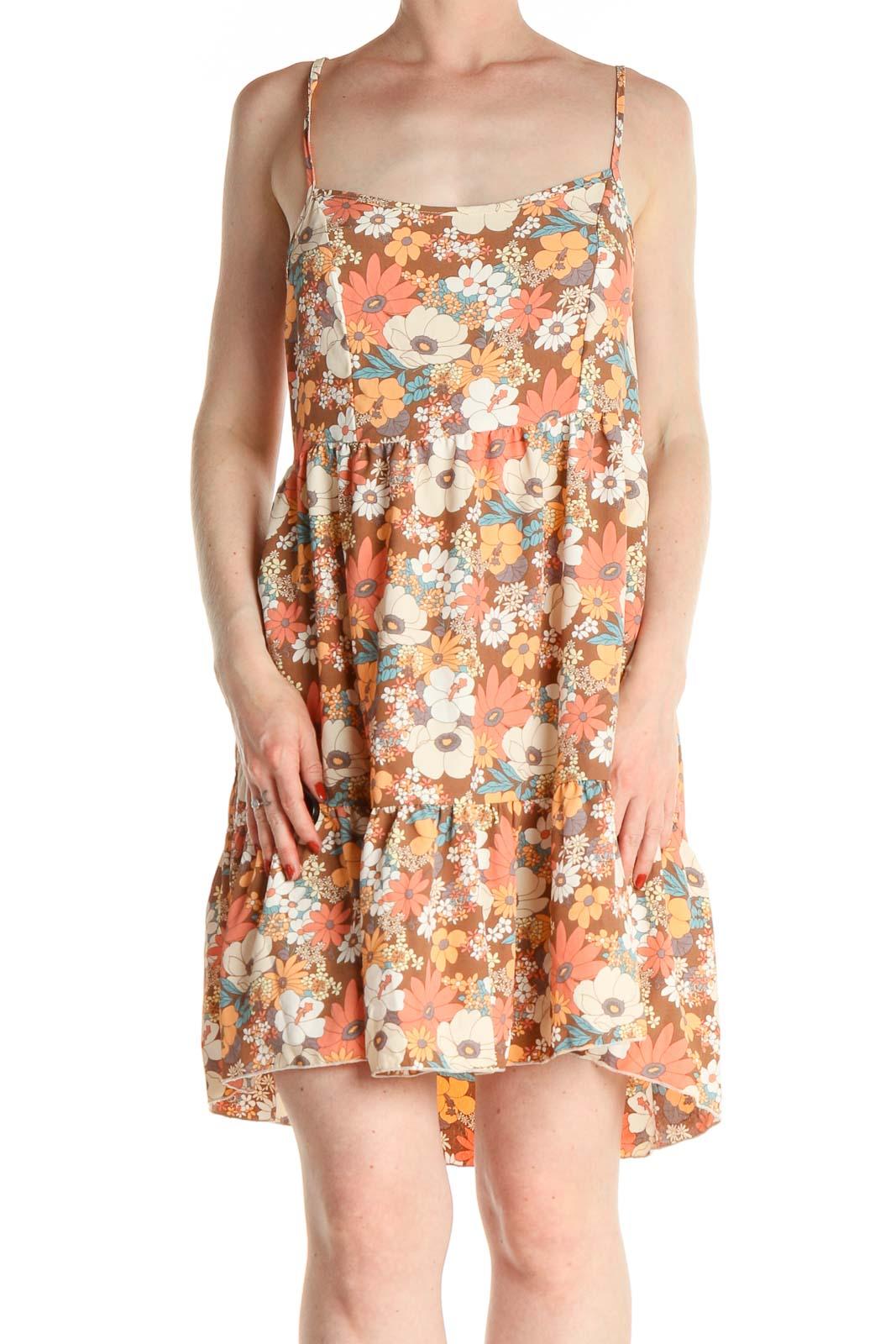 Orange Floral Print Bohemian Fit & Flare Dress Front