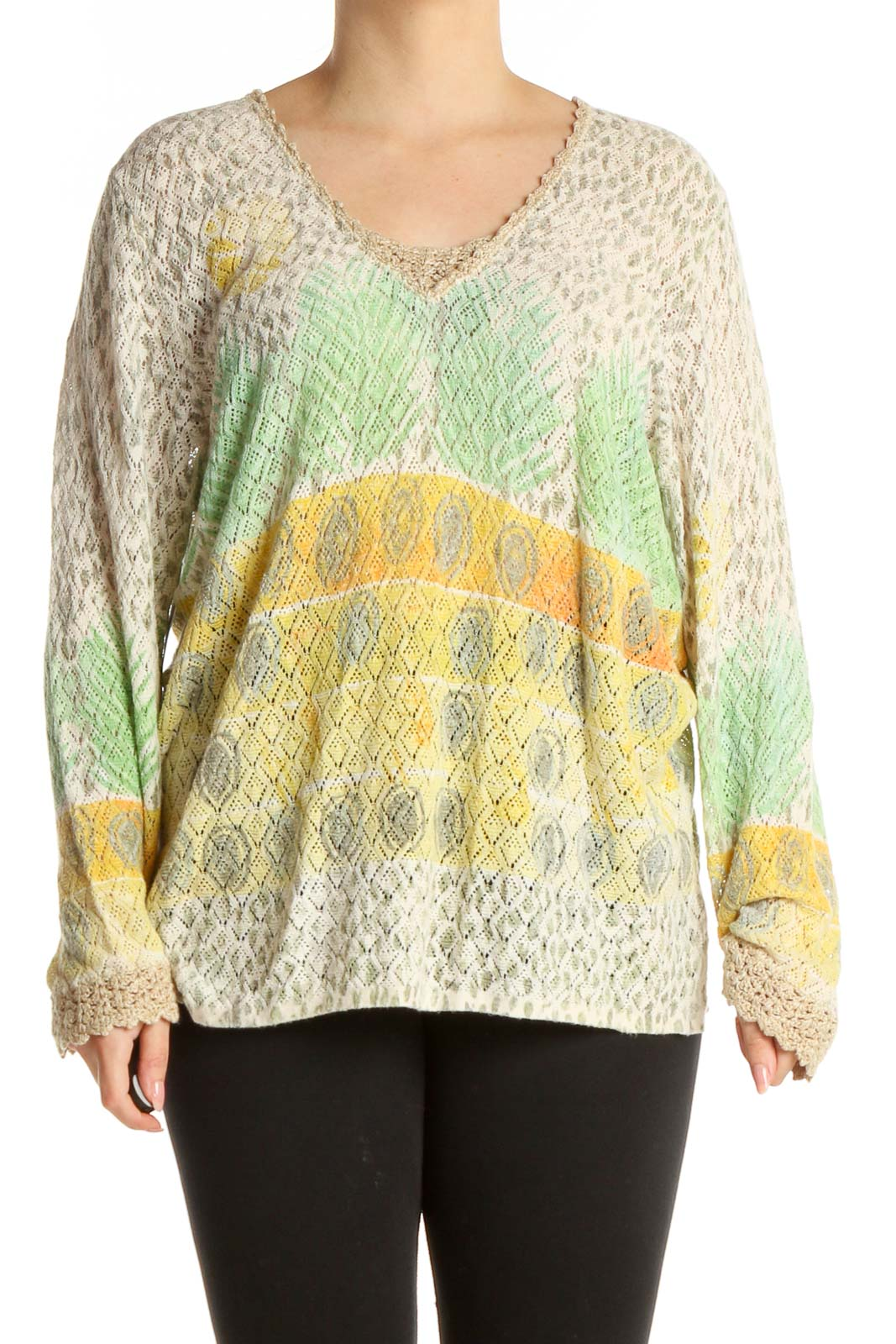 Green Textured Retro Blouse Front