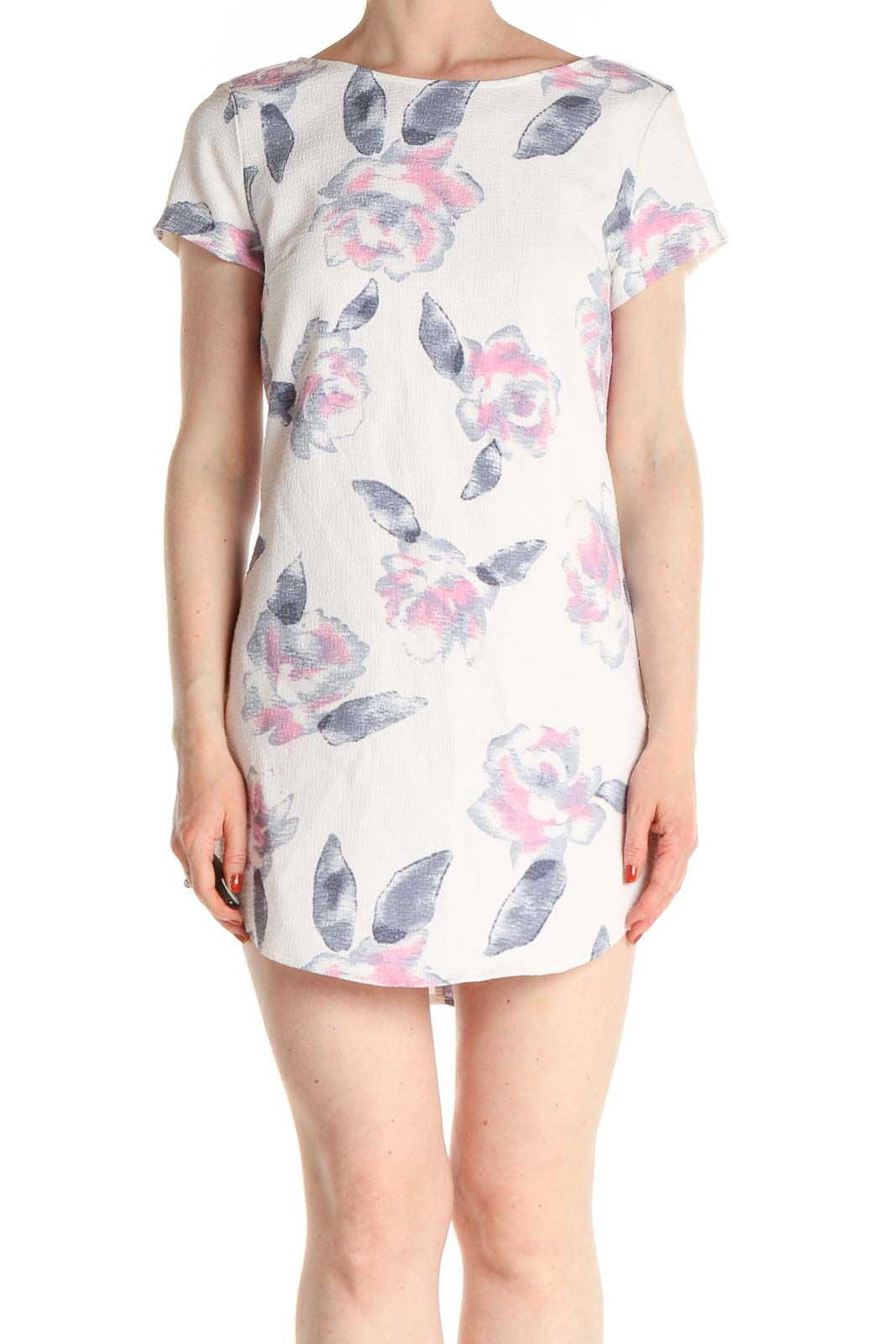 White Floral Print Day Sheath Dress Front