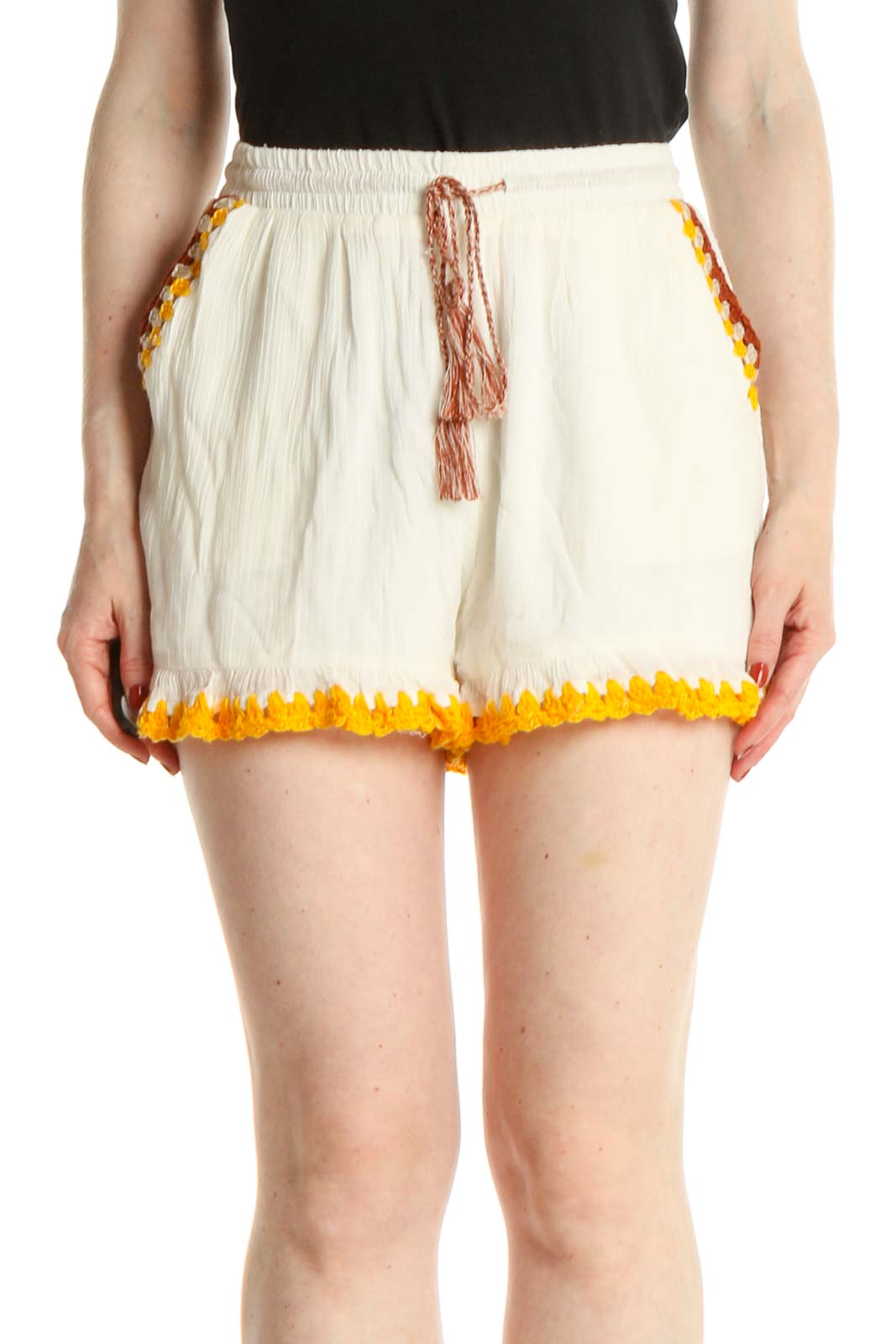 Beige Chic Shorts Front