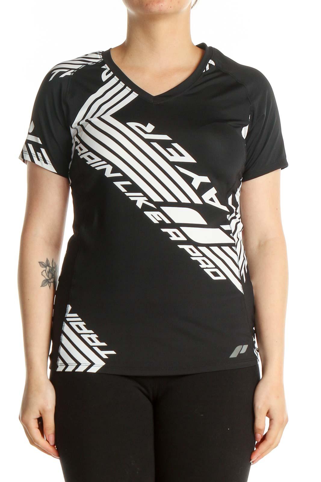 Black Graphic Print Activewear T-Shirt Front