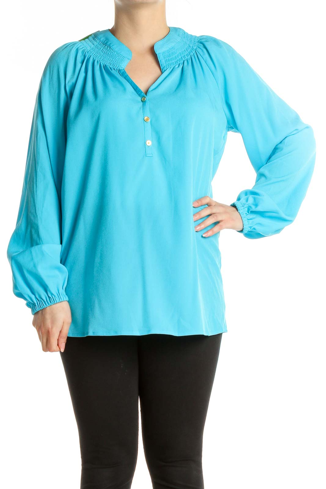 Blue Solid All Day Wear Blouse Front