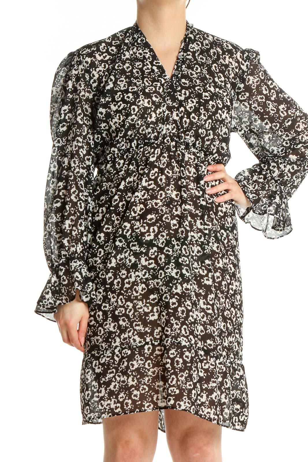 Black Day Floral Fit & Flare Dress Front