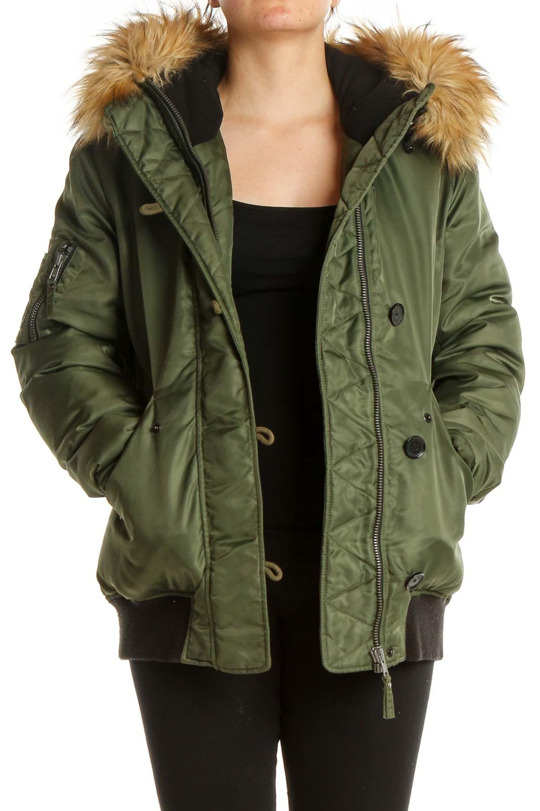 Green Parka Jacket Front