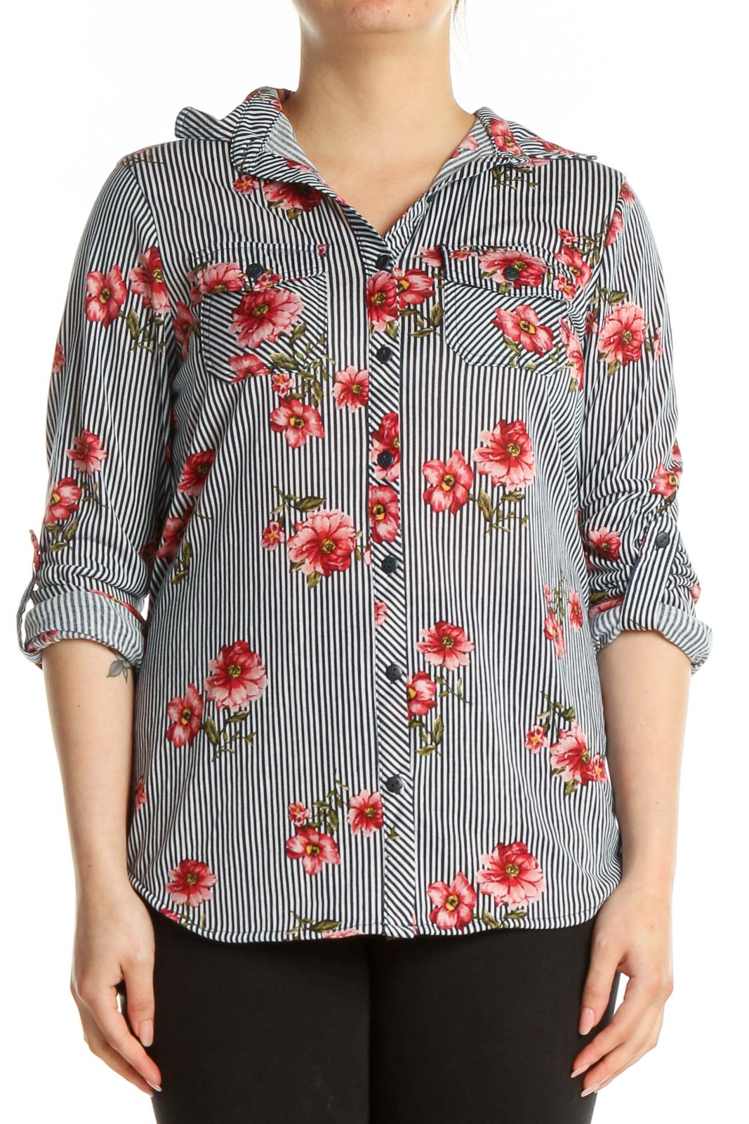 White Floral Print All Day Wear Shirt Front