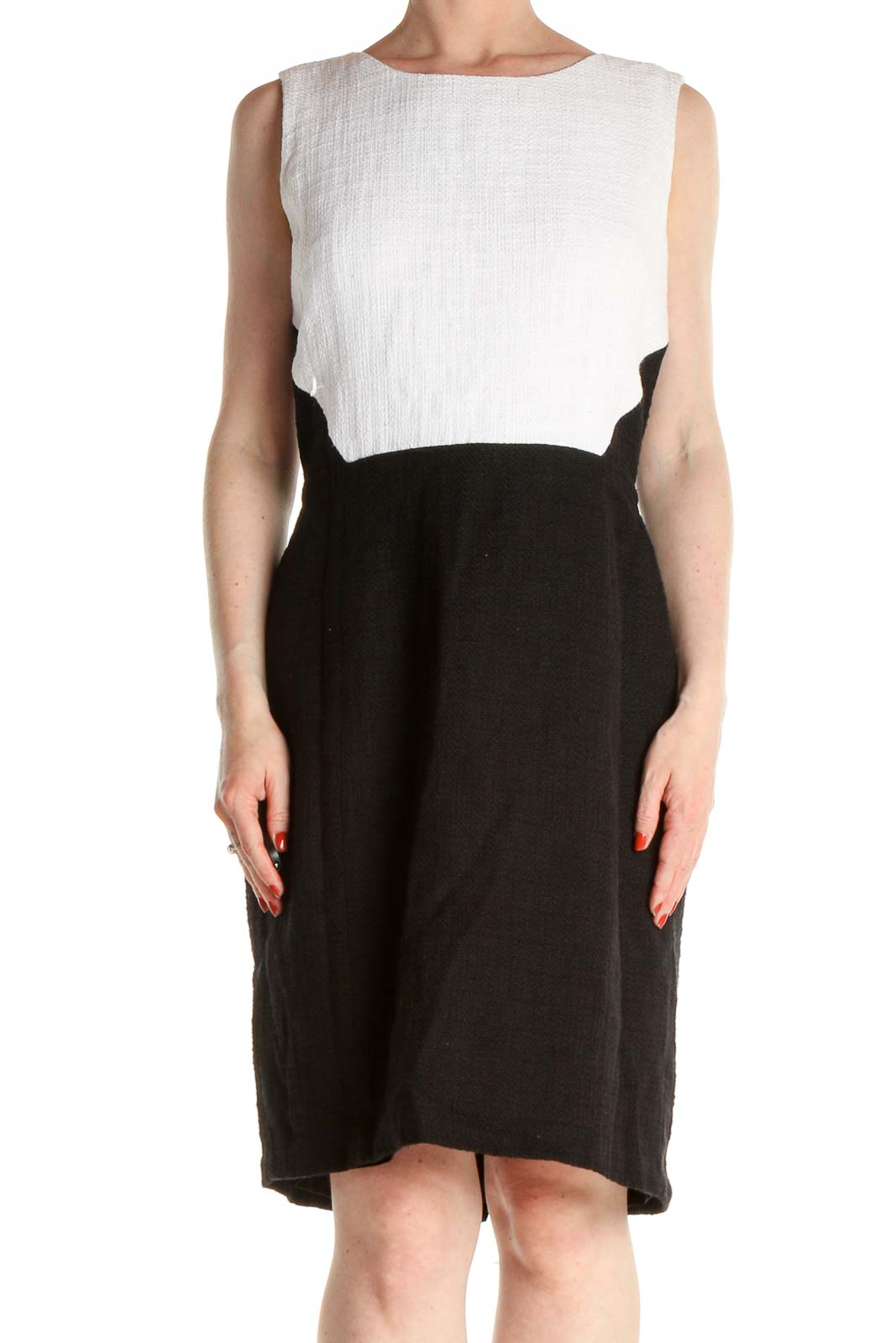 Black Colorblock Day Fit & Flare Dress Front