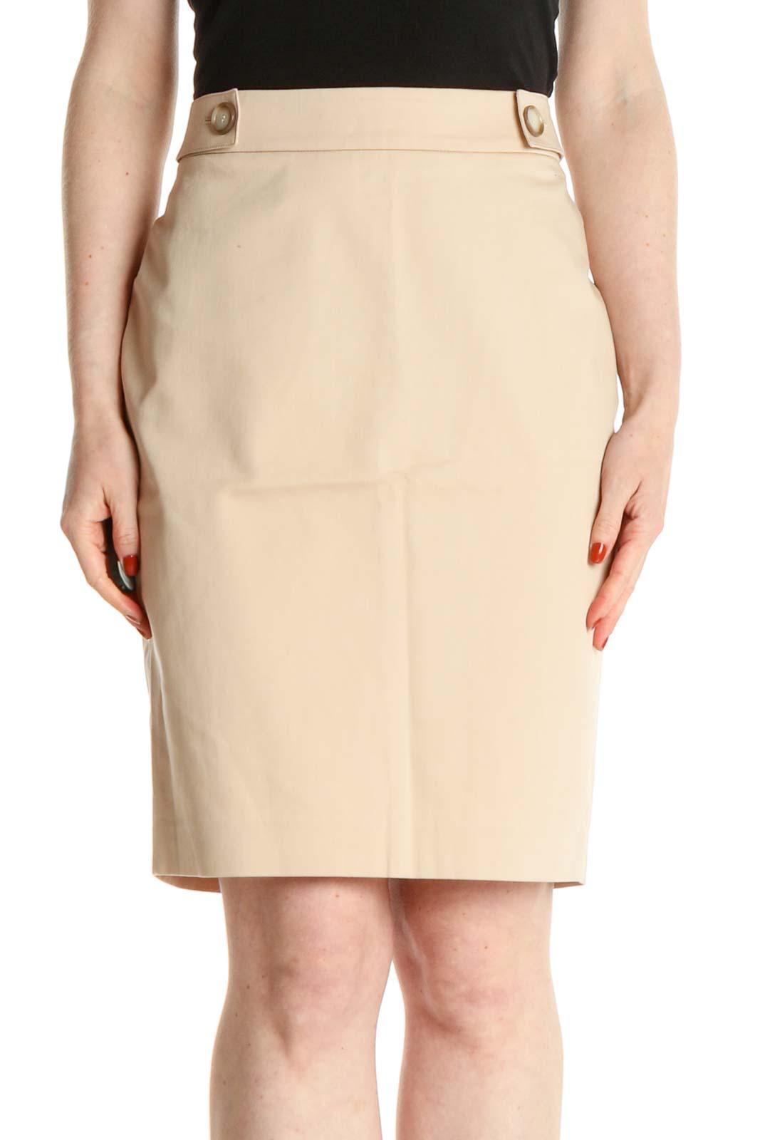Beige Solid Brunch Pencil Skirt Front