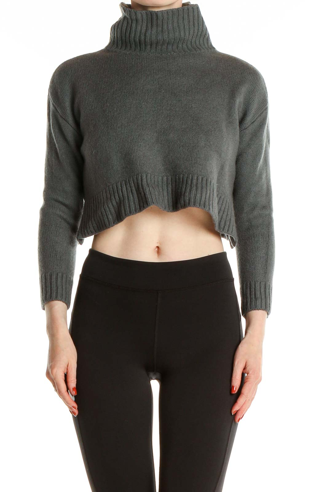 Gray Textured Casual Sweater Front