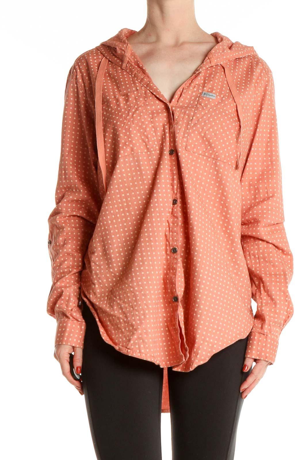 Orange Polka Dot Activewear Shirt Front