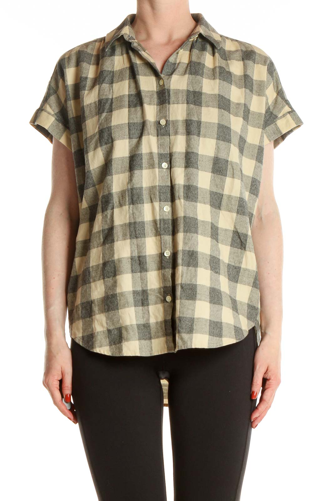 Yellow Checkered Casual Shirt Front