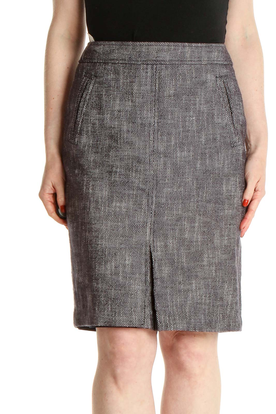 Gray Textured Classic Pencil Skirt Front