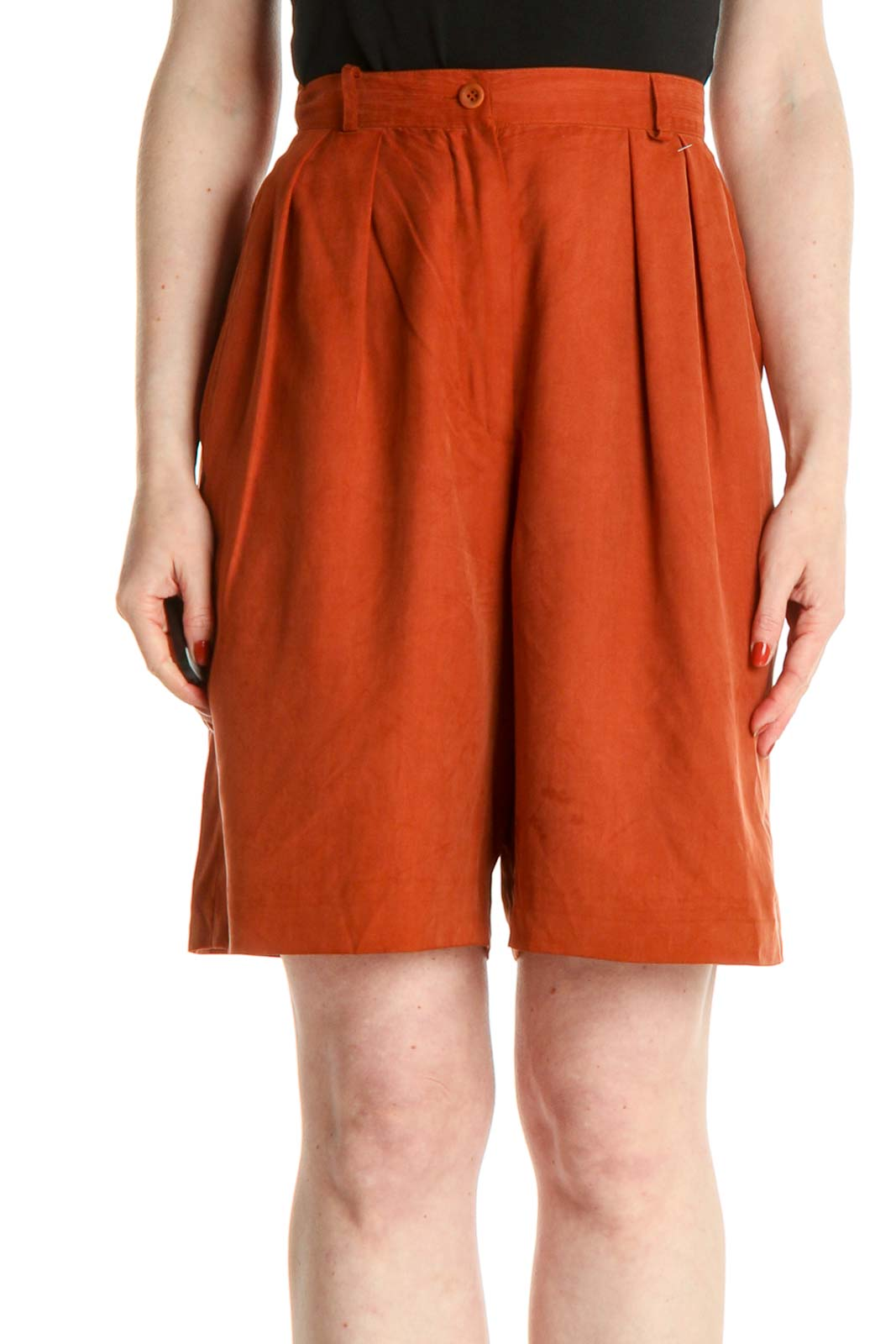 Orange Solid All Day Wear Shorts Front