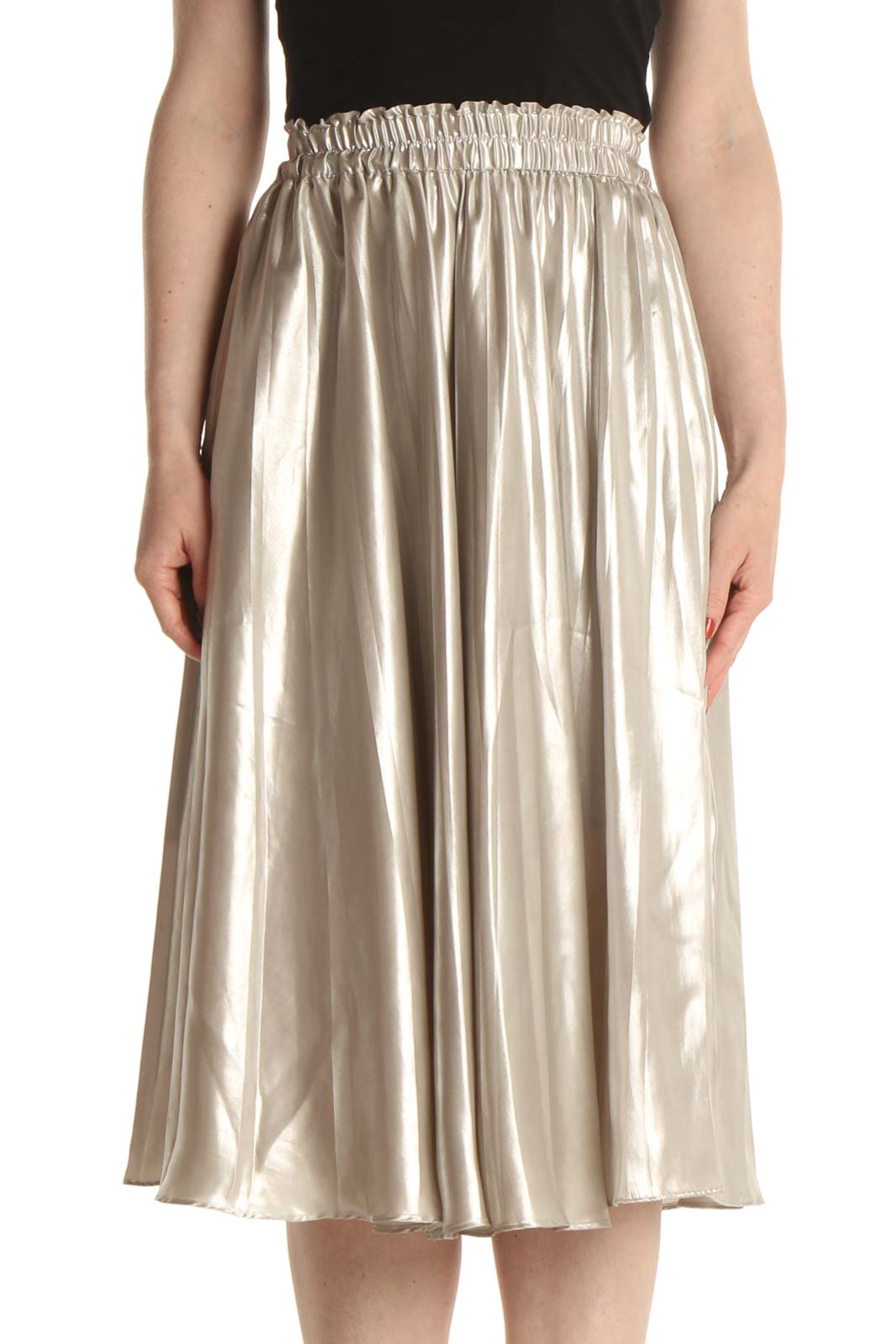 Gray Party Flared Skirt Front