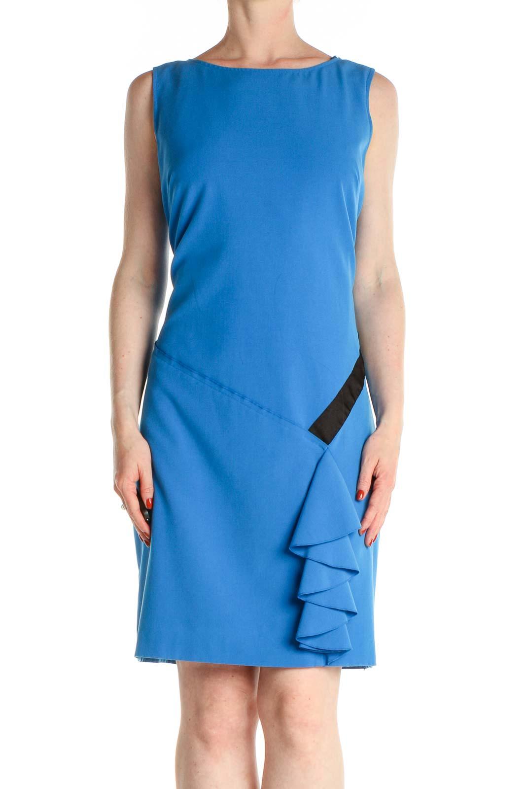 Blue Solid Work Sheath Dress Front