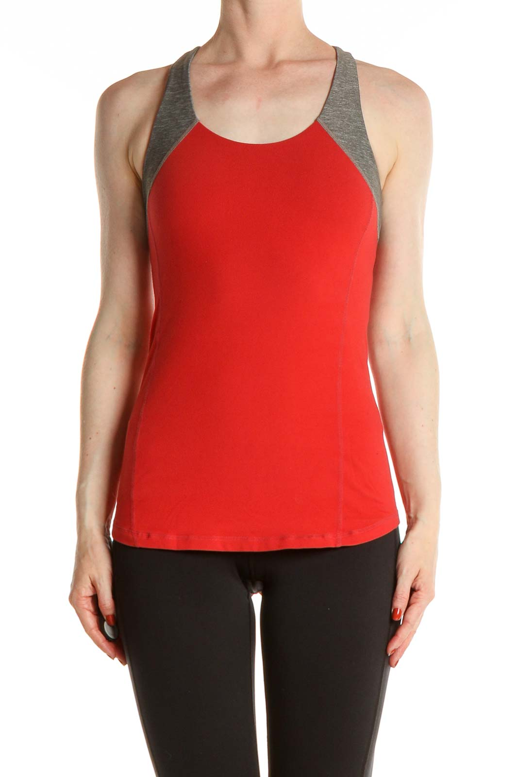 Red Solid Activewear Tank Top Front