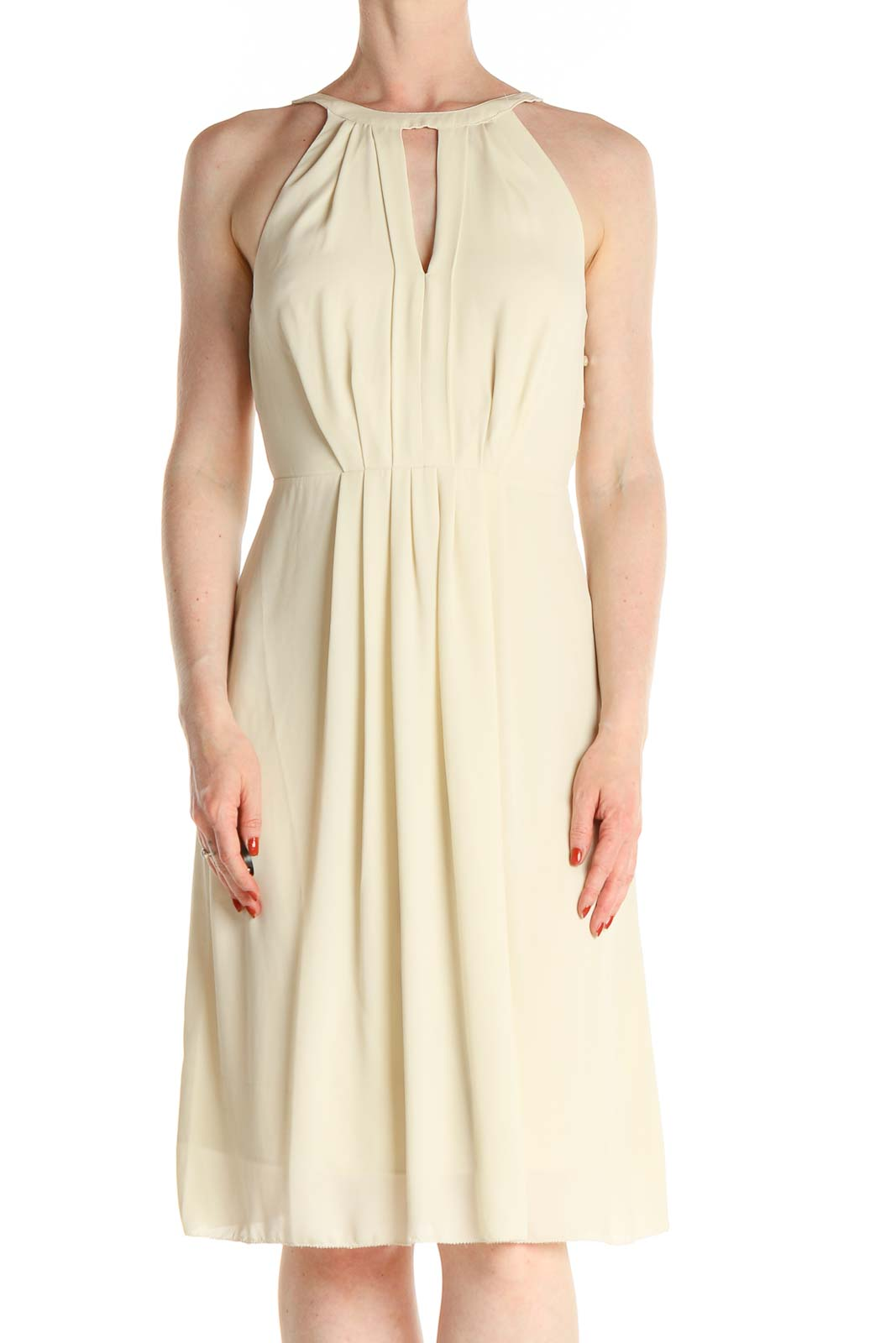 Beige Solid Fit & Flare Dress Front