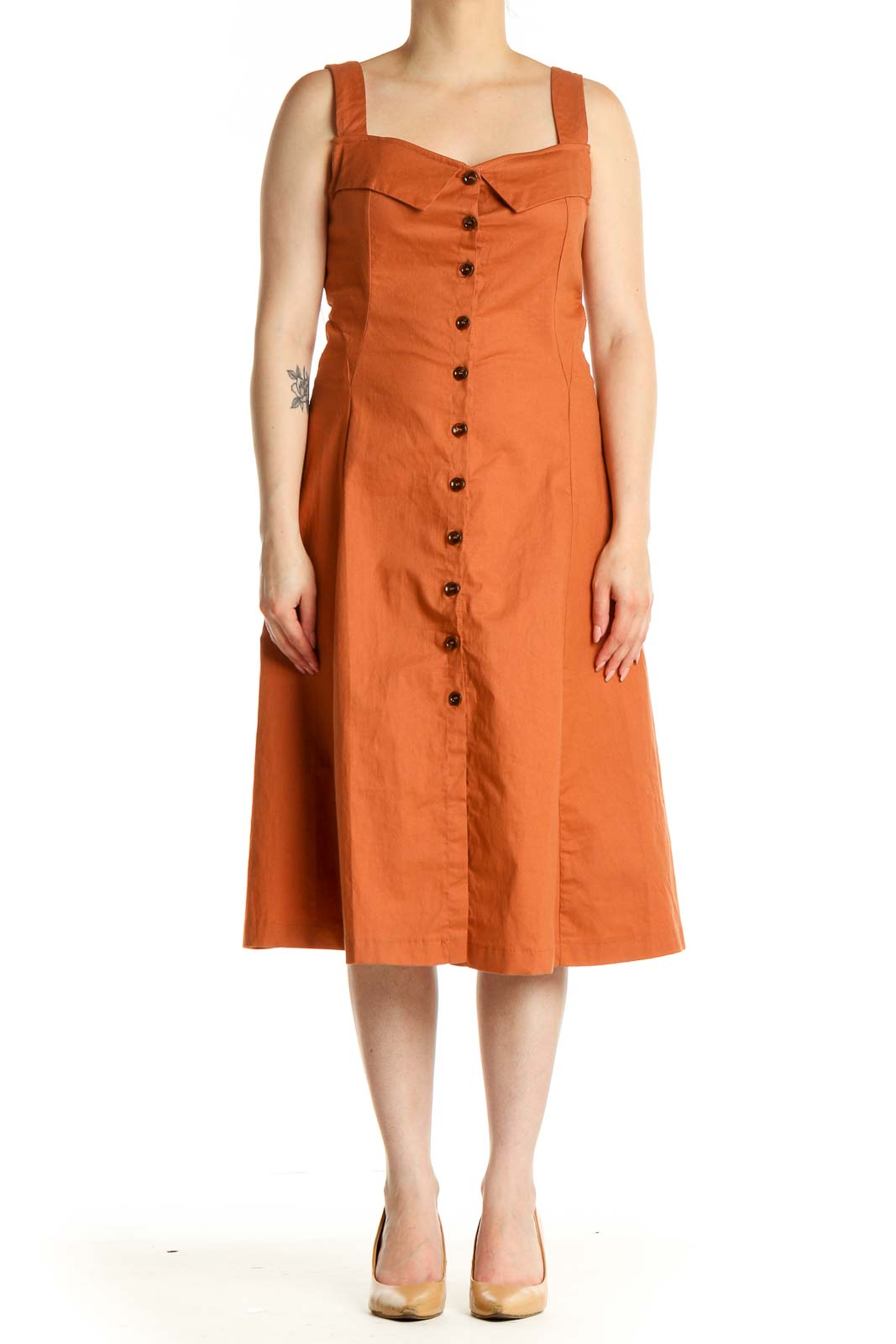 Orange Solid Day Fit & Flare Dress Front