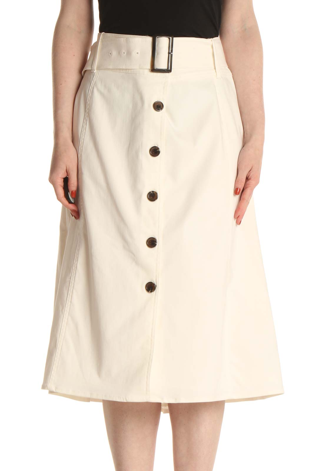 Beige Chic A-Line Skirt Front