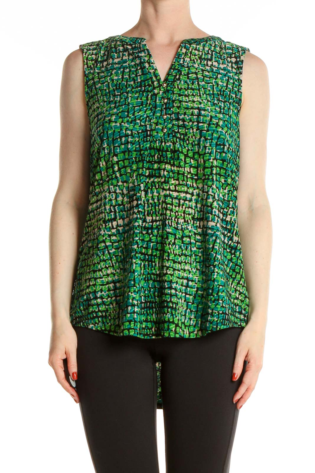 Green Printed Blouse Front