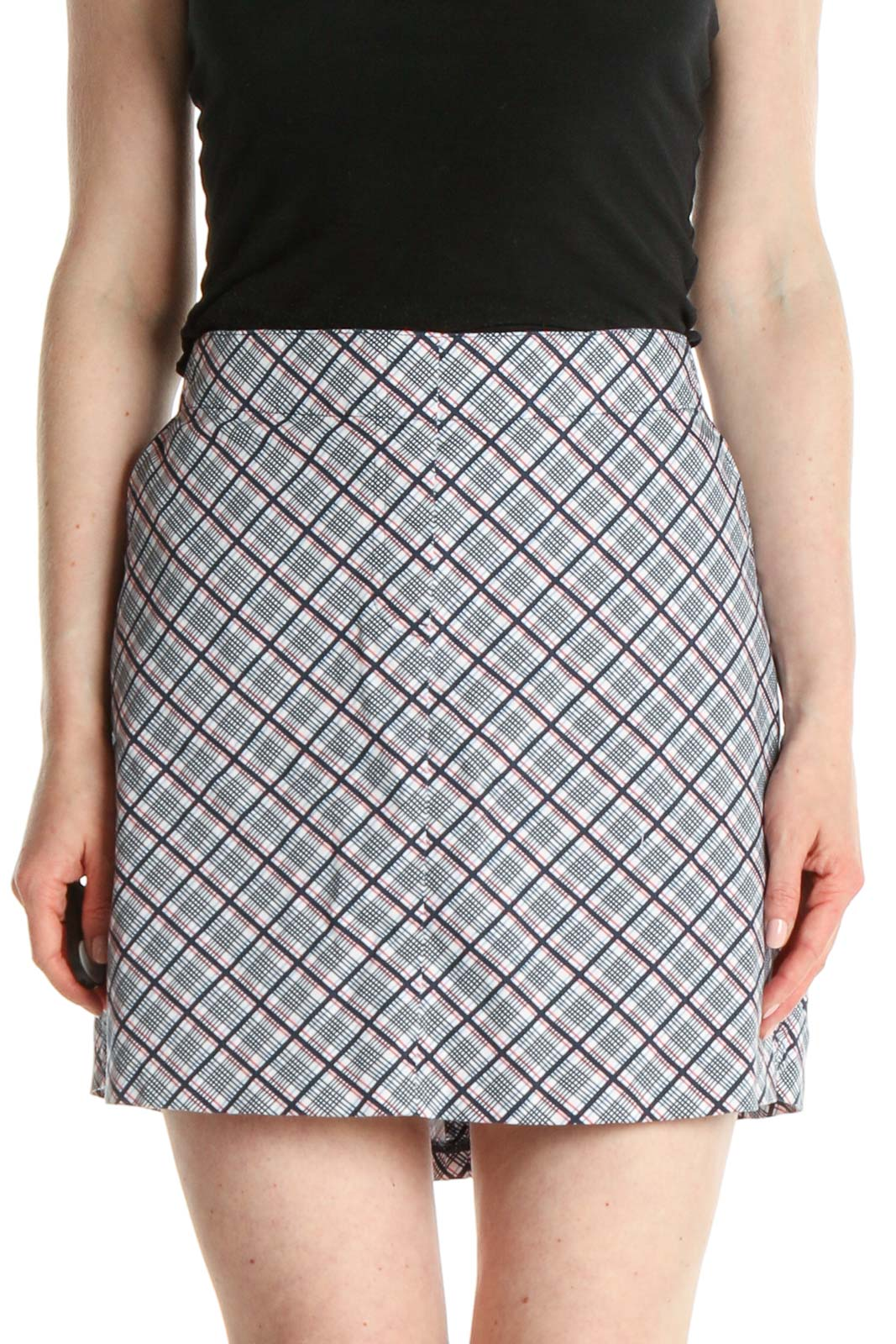 Gray Printed Activewear A-Line Skirt Front