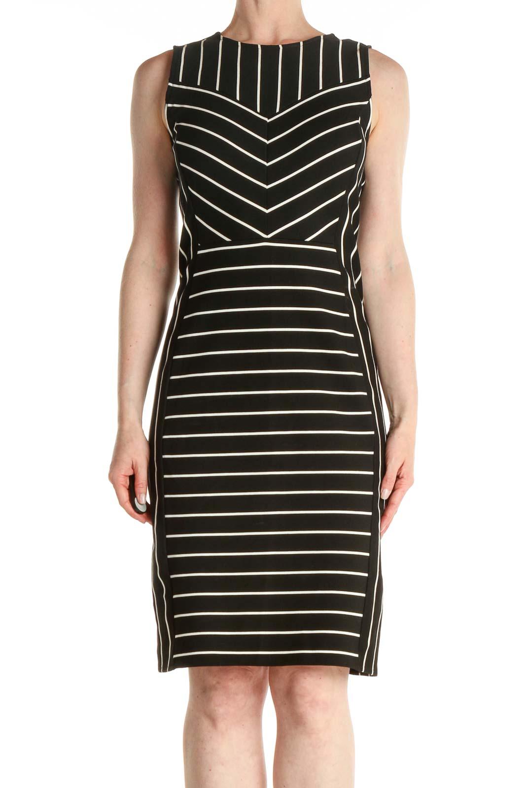 Black Striped Work Sheath Dress Front