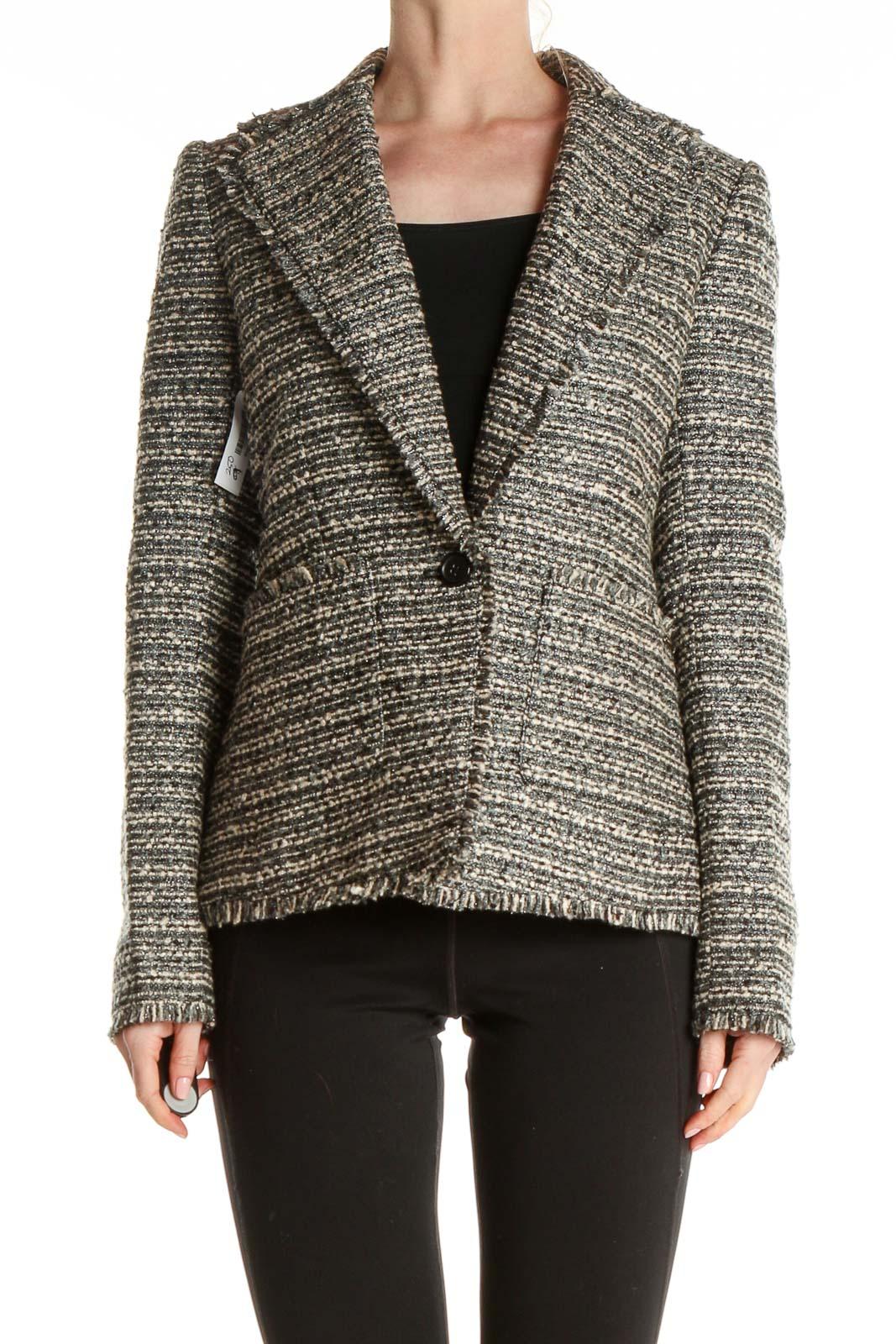 Gray Tweed Blazer Front
