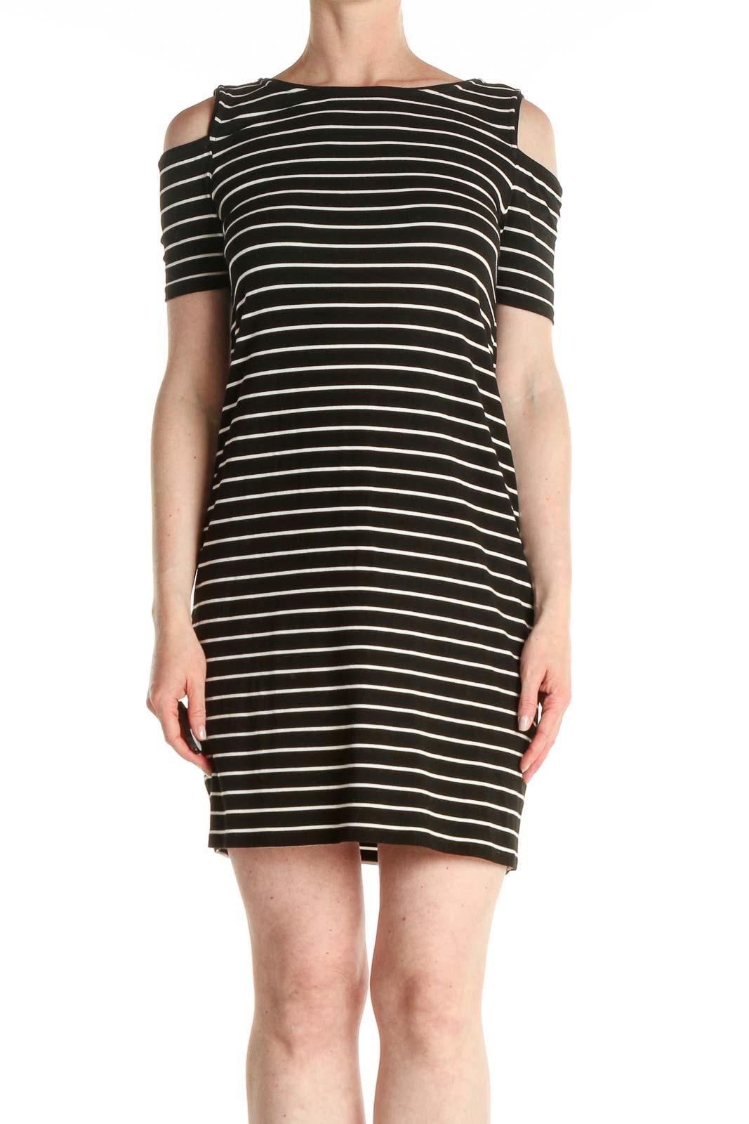Black Striped Day Sheath Dress Front