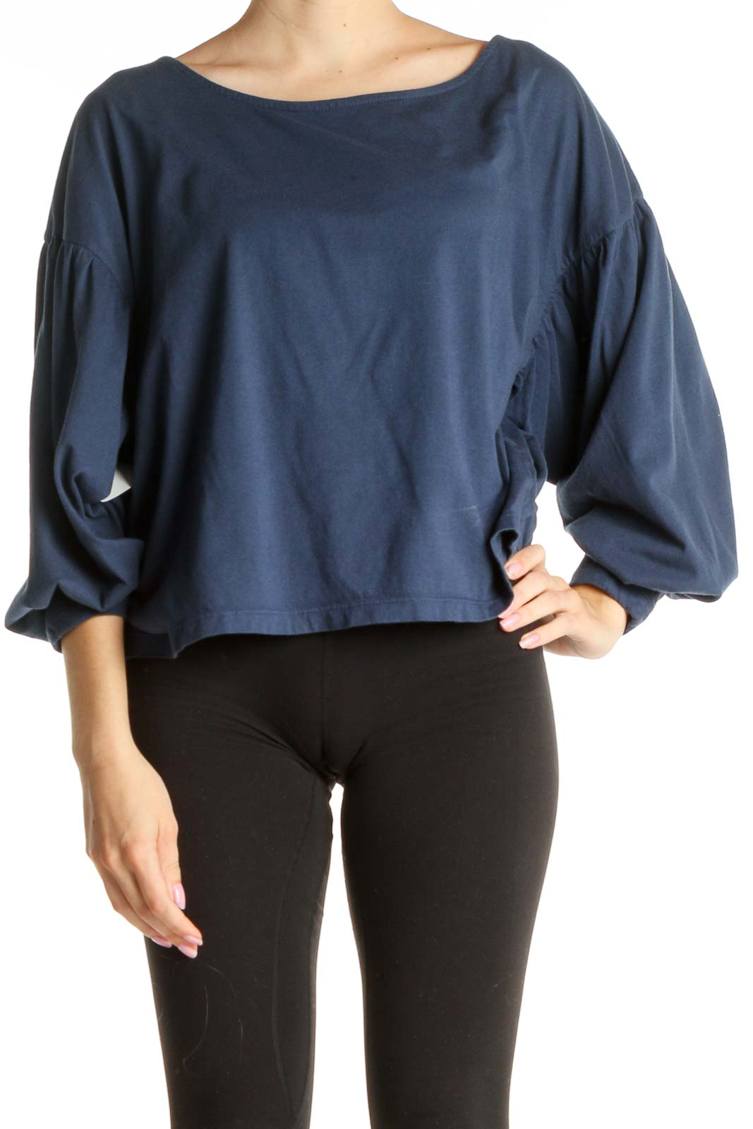 Blue Solid Chic T-Shirt Front