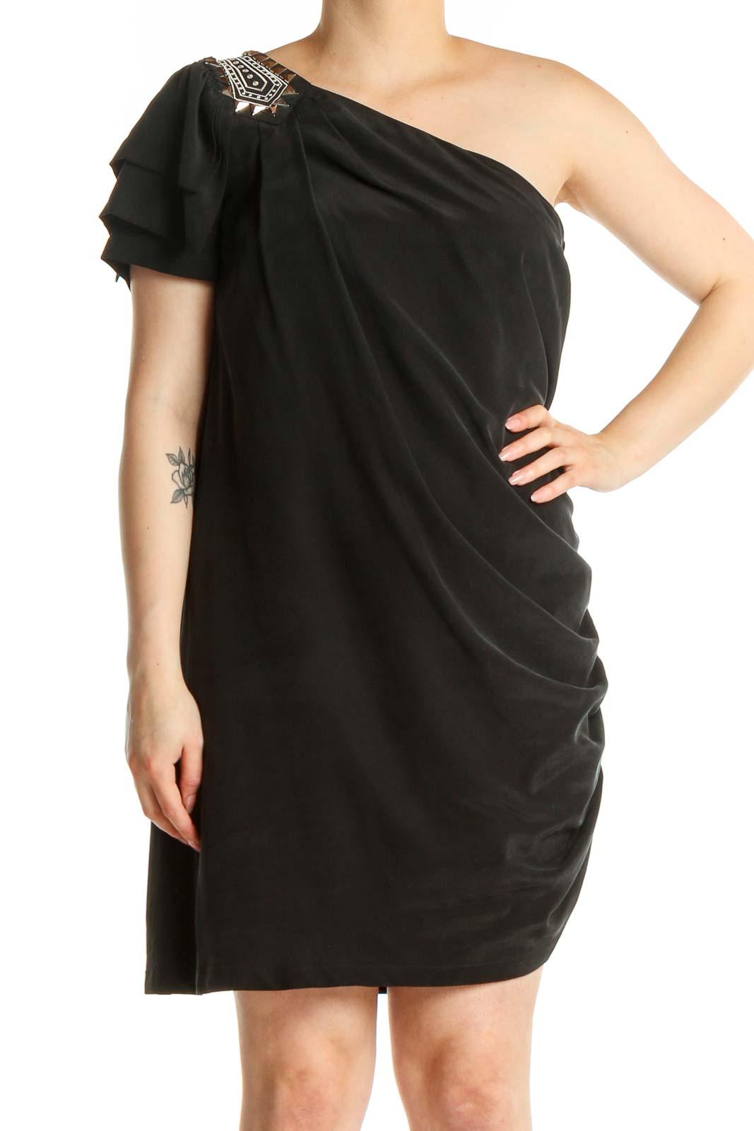 Black One Shoulder Stud Shoulder Dress Front