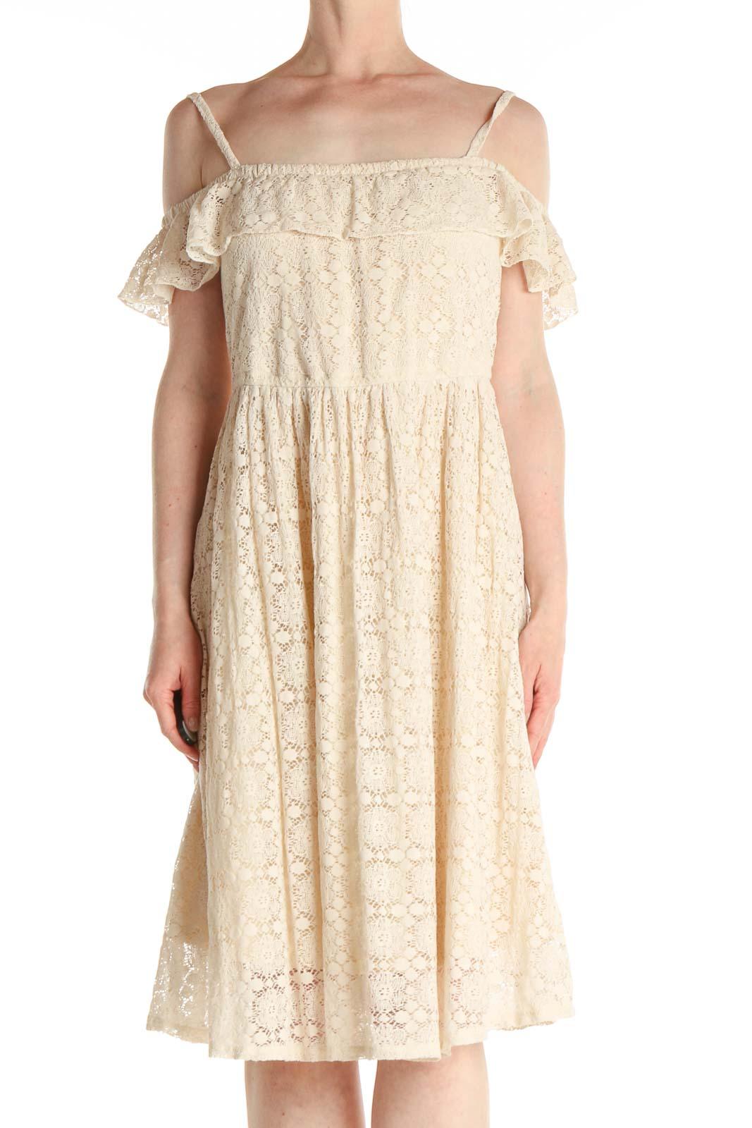 Beige Lace Bohemian Fit & Flare Dress Front