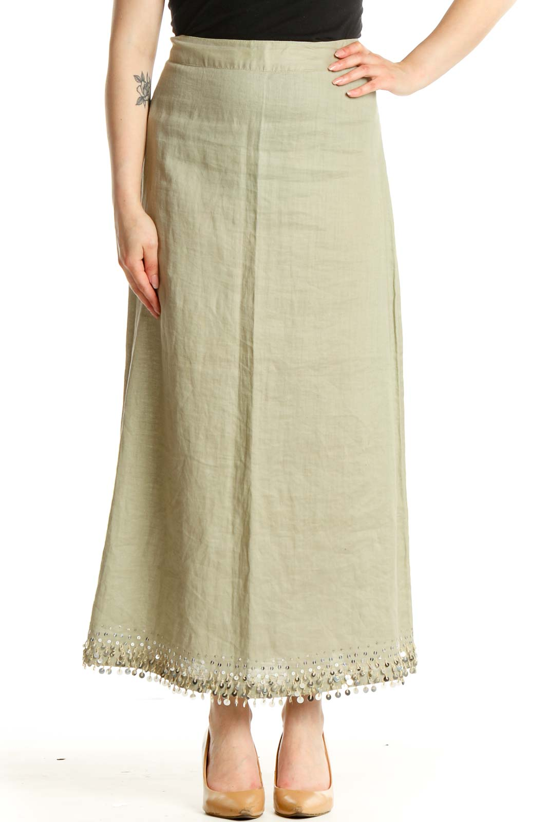 Beige Sequin Casual Straight Skirt Front
