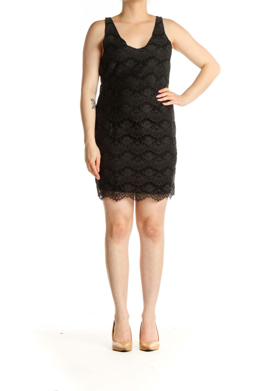 Black Lace Day Sheath Dress Front