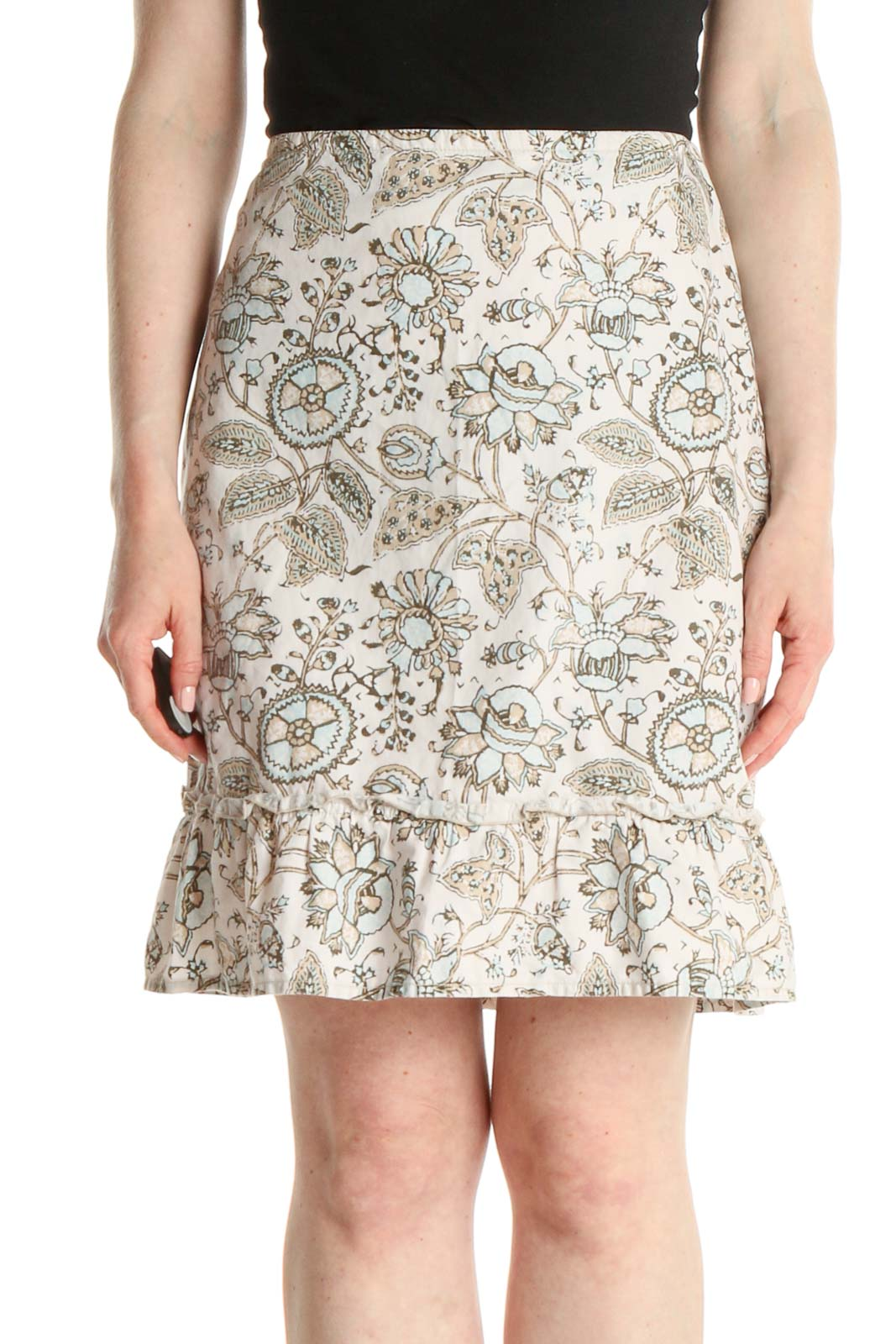 White Printed Brunch A-Line Skirt Front