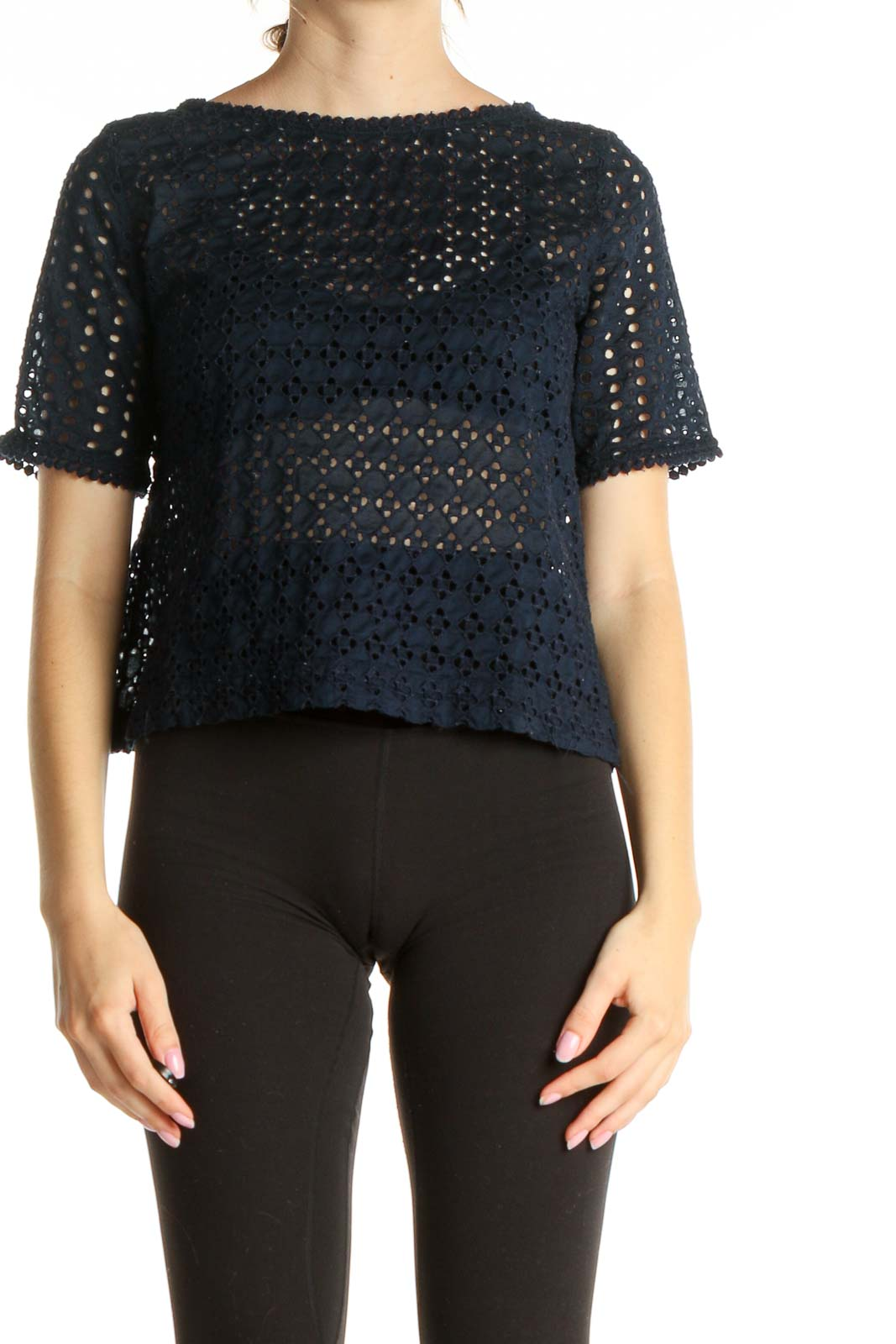 Blue Textured All Day Wear Blouse Front