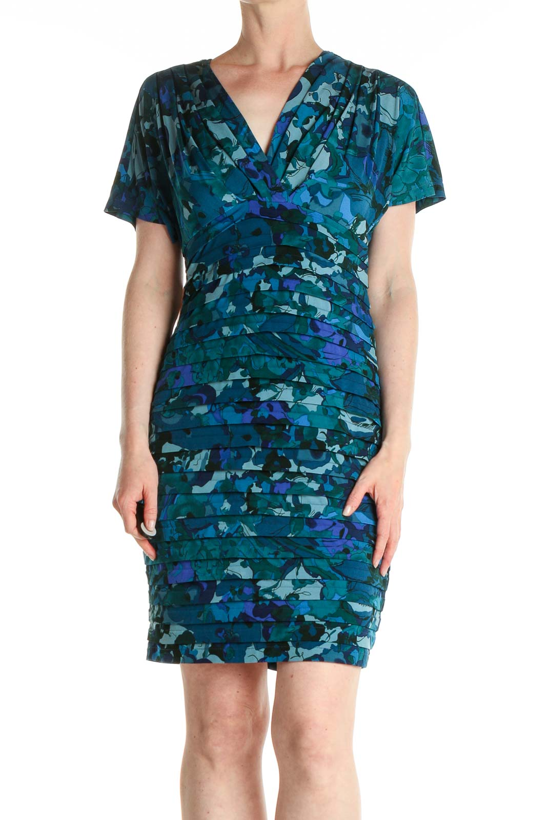 Green Floral Print Day Sheath Dress Front
