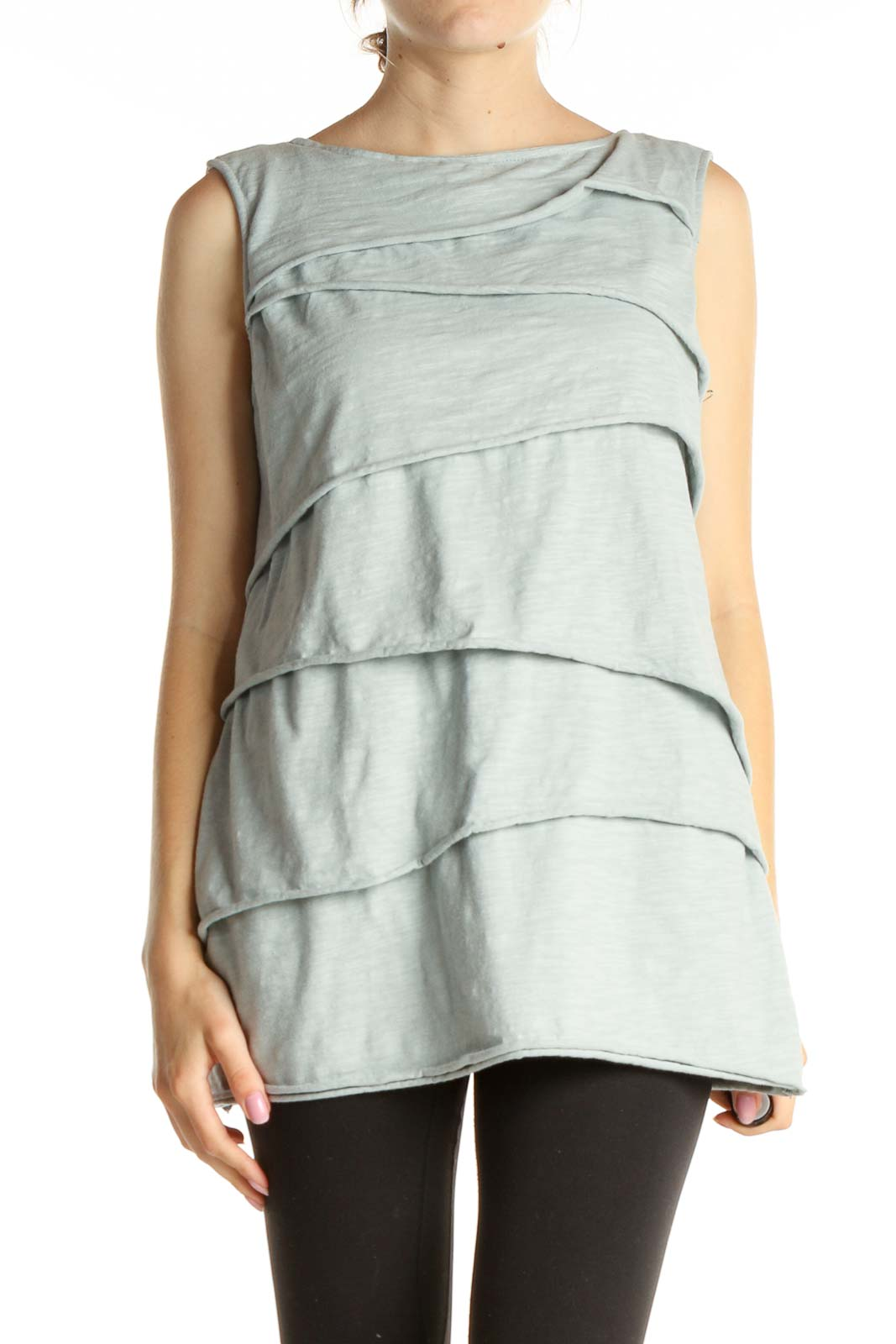 White Solid All Day Wear Tank Top Front