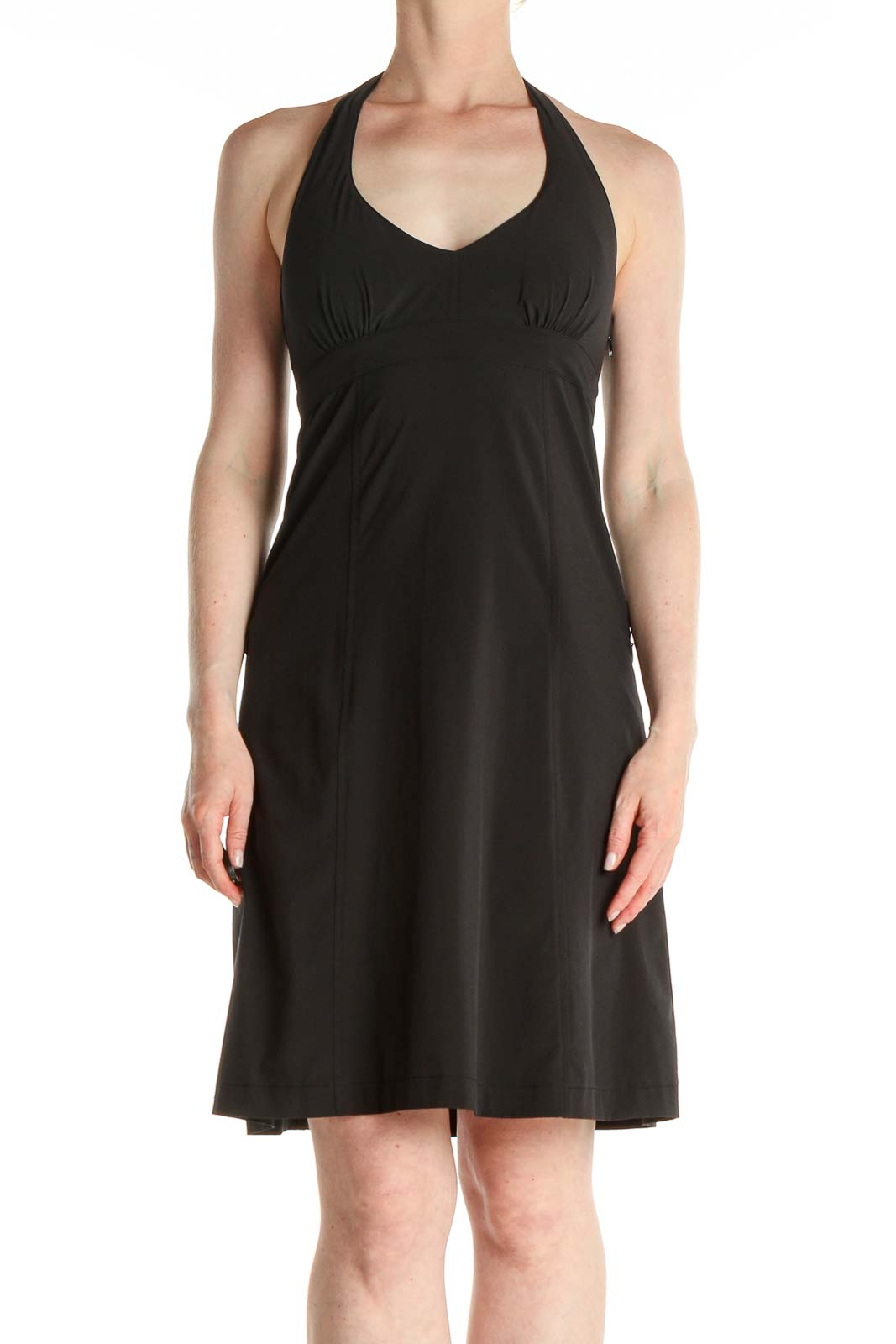 Black Solid Activewear Fit & Flare Dress Front